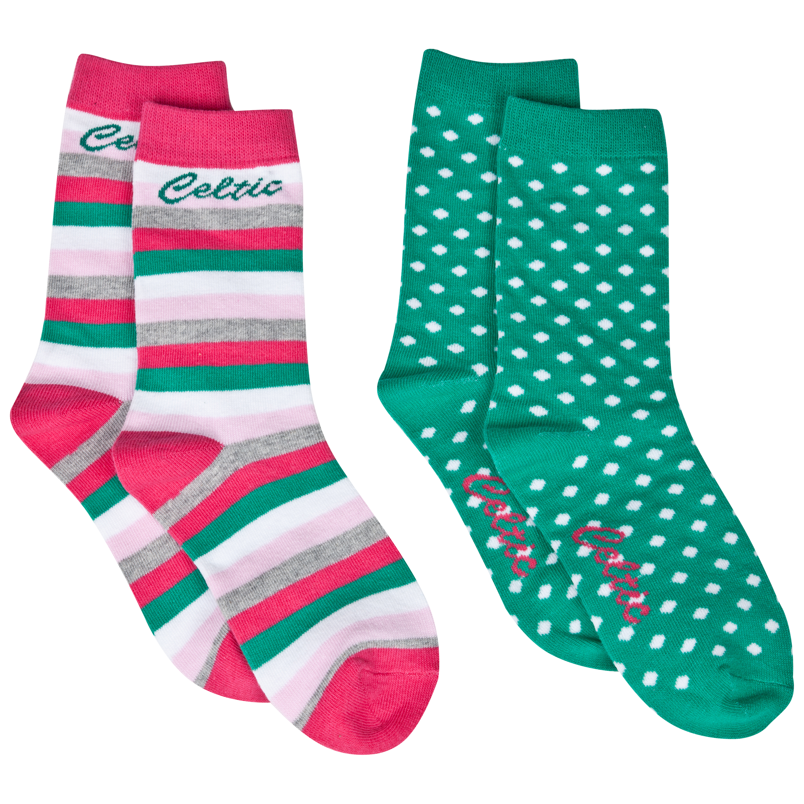Celtic 2 Pack Socks - Pink/Oasis Green/White - Girls