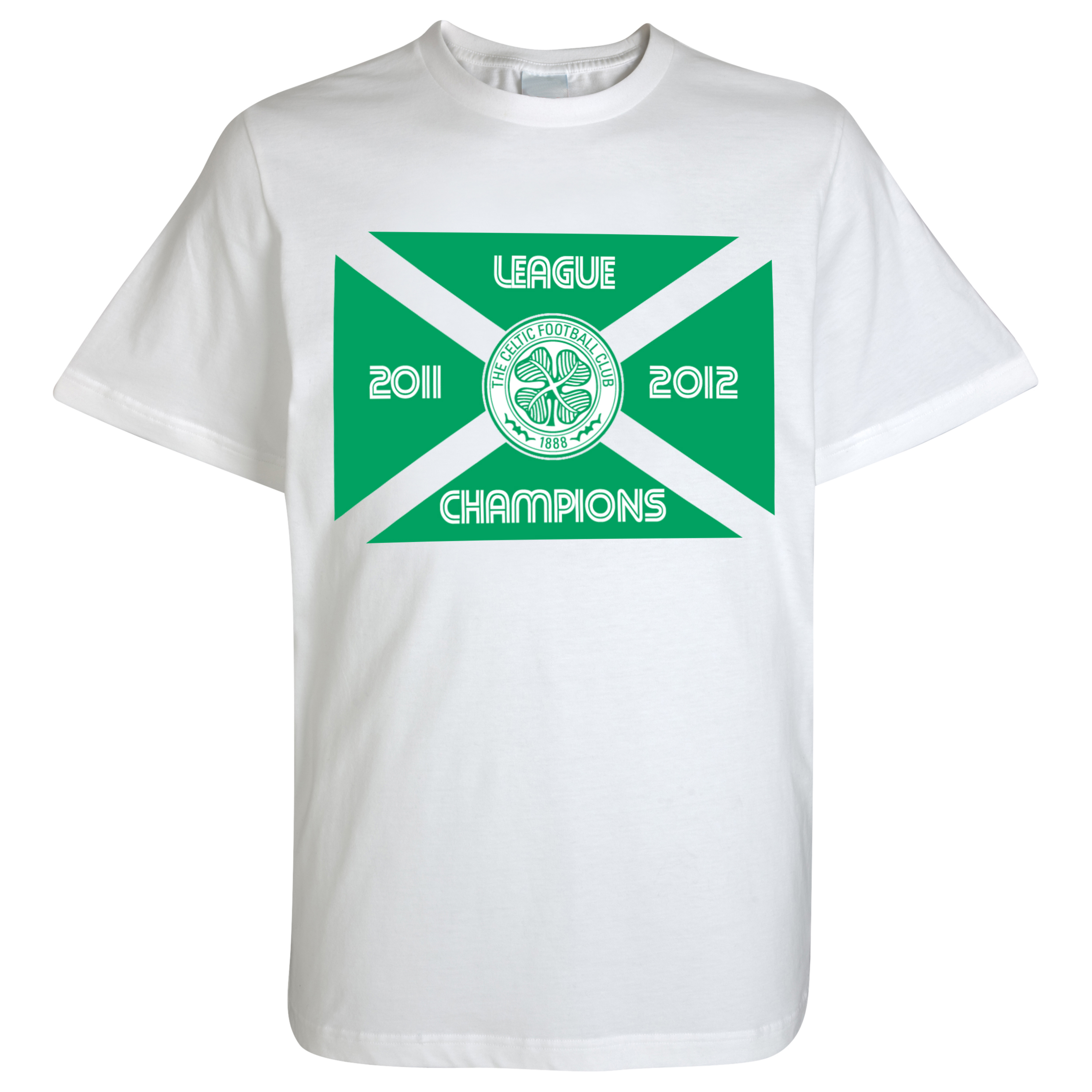 Celtic 2012 Champions Flag T-Shirt - White - Mens
