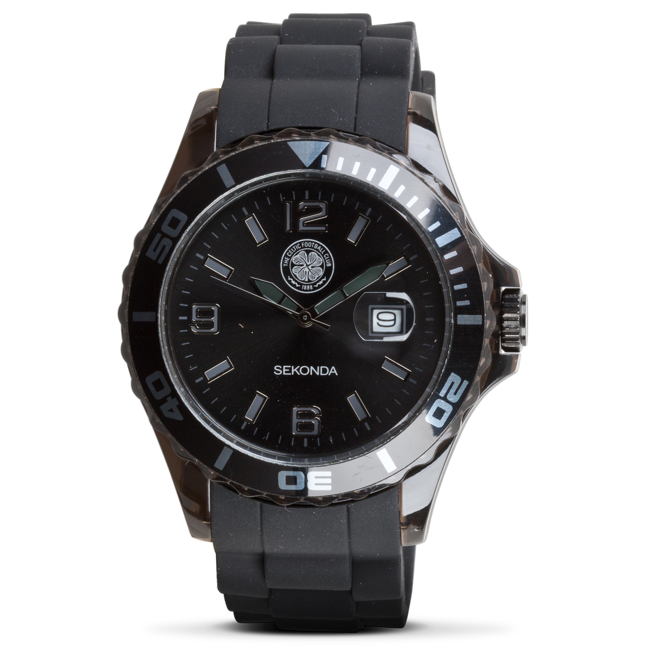 Celtic Black Face Rubber Strap Watch