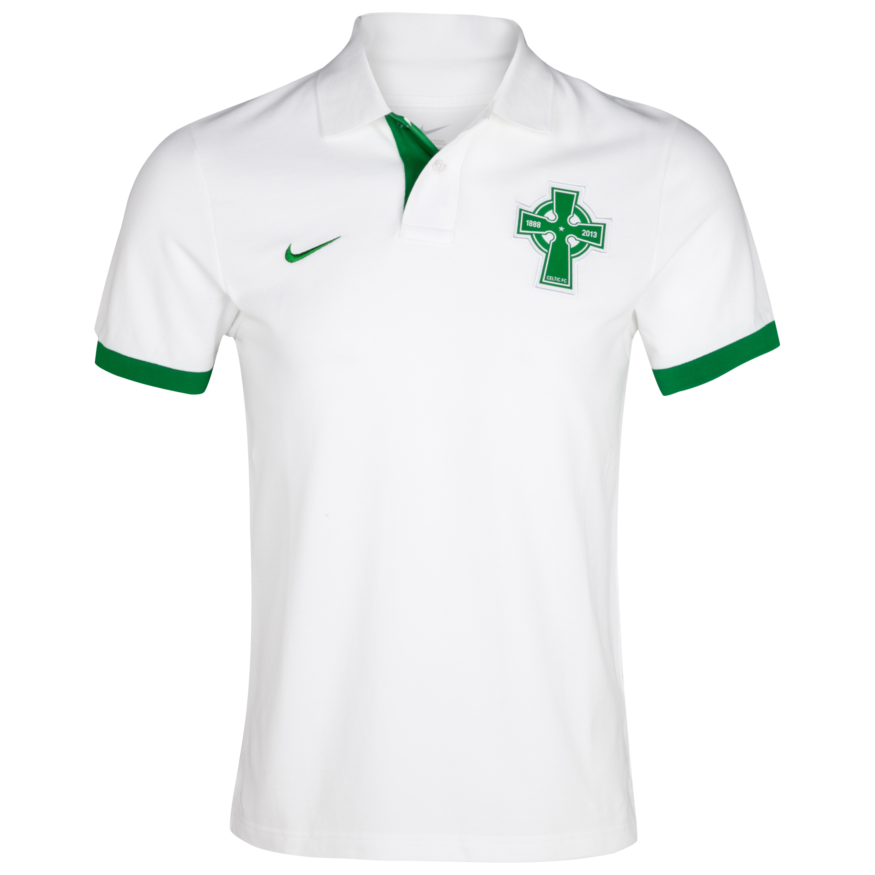 Celtic Authentic Grand Slam Polo - White/Victory Green/Victory Green