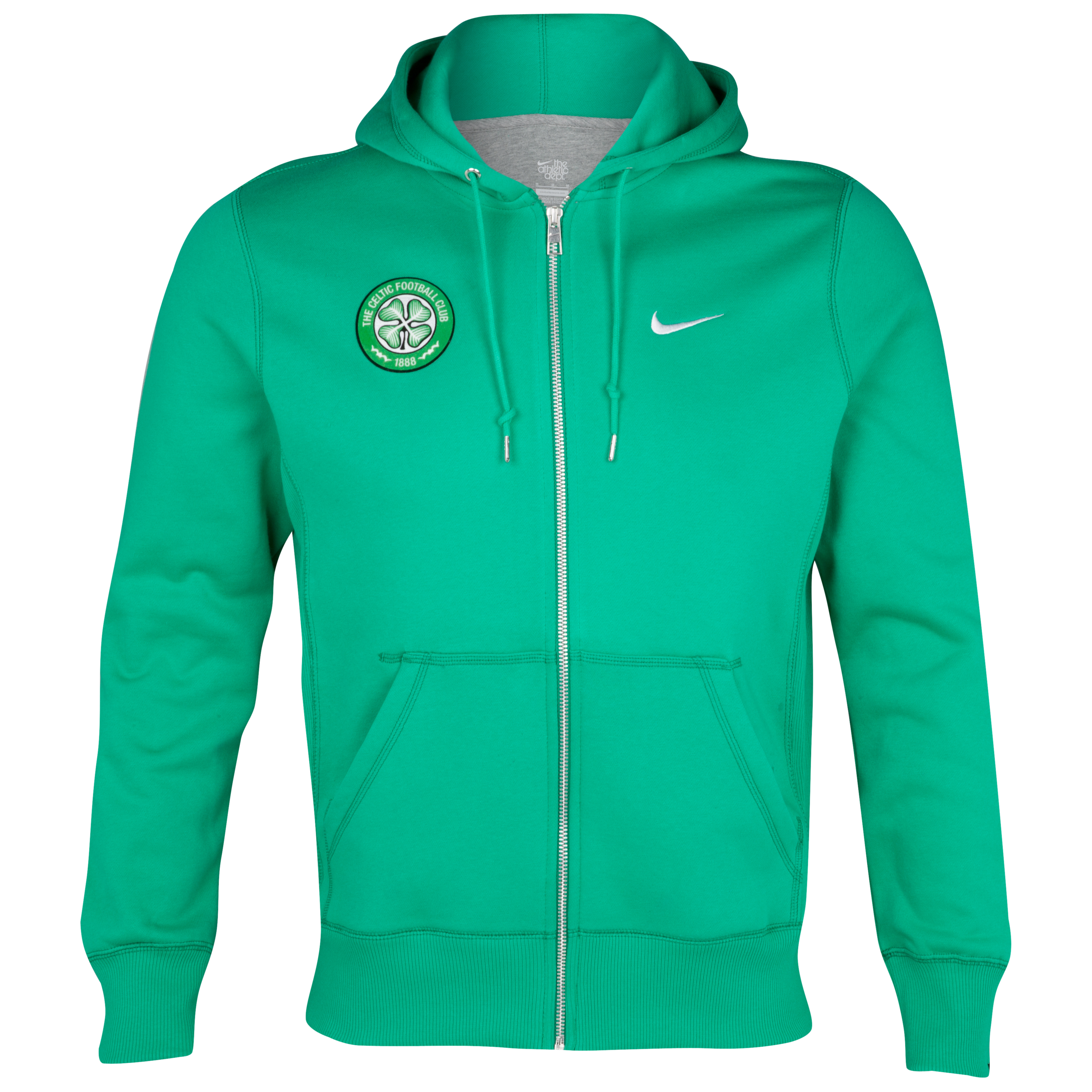 Celtic Squad Fleece Full Zip Hoody - Stadium Green/White