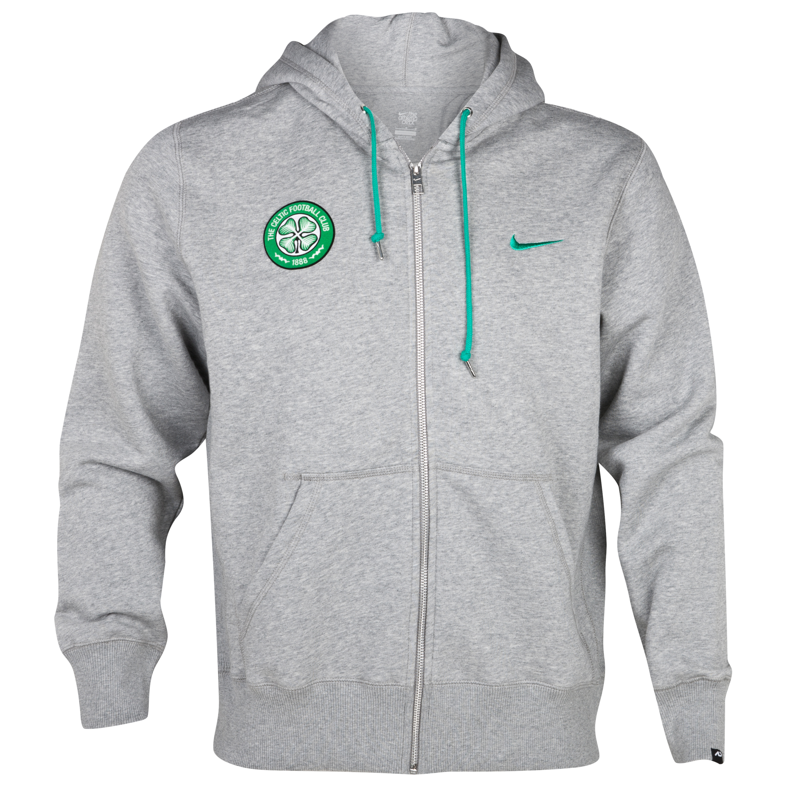 Celtic Squad Fleece Full Zip Hoody - Dark Gey/Stadium Green