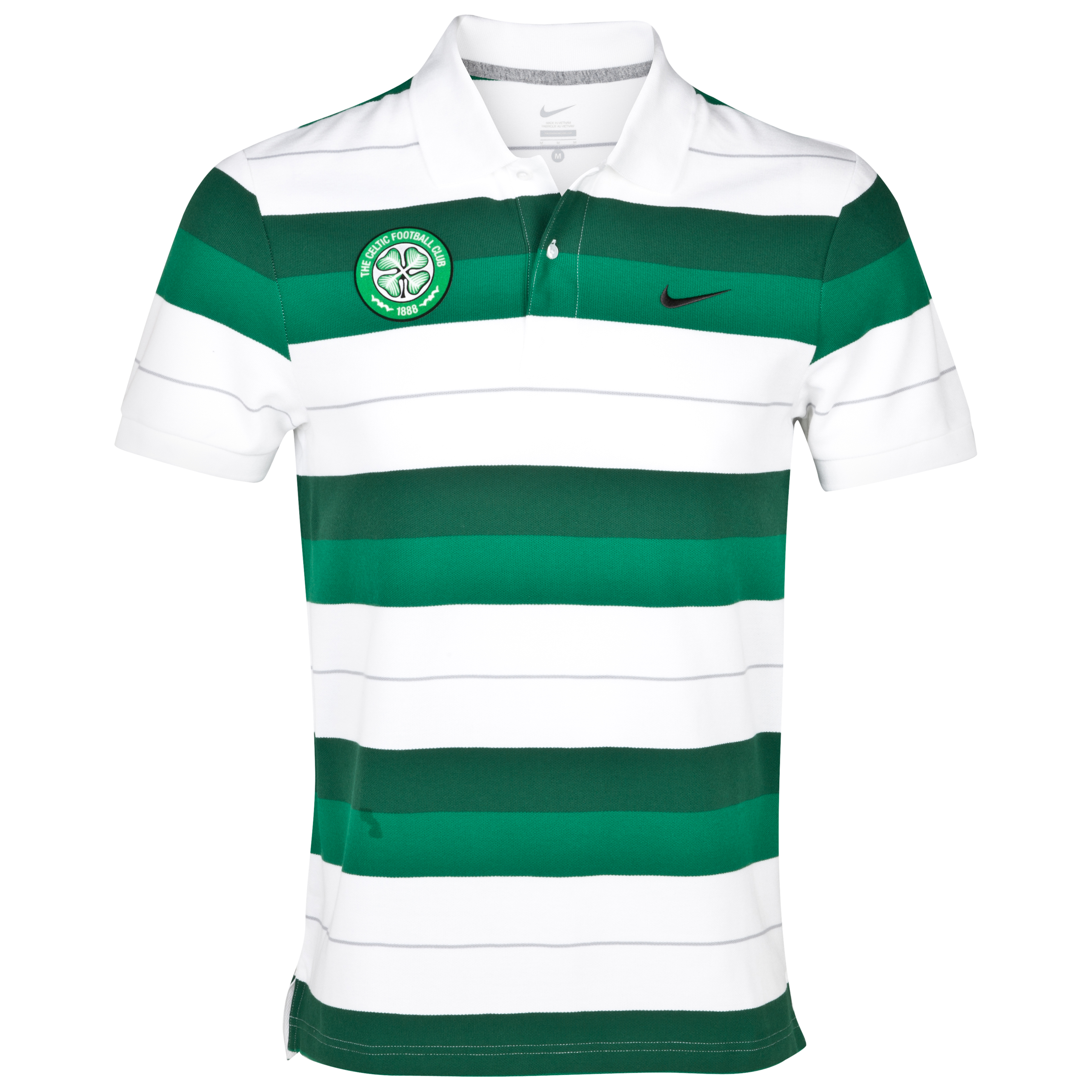 Celtic Classic Stripe Polo - Pine Green/Black