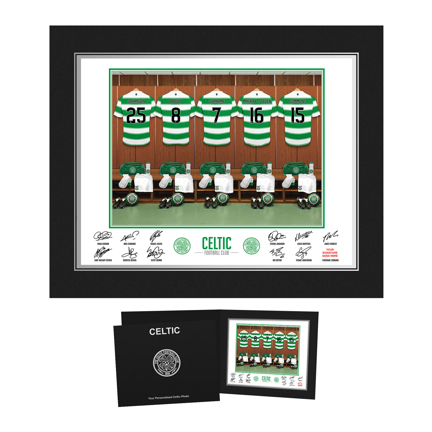 Celtic Personalised Dressing Room Photo in Presentation Folder