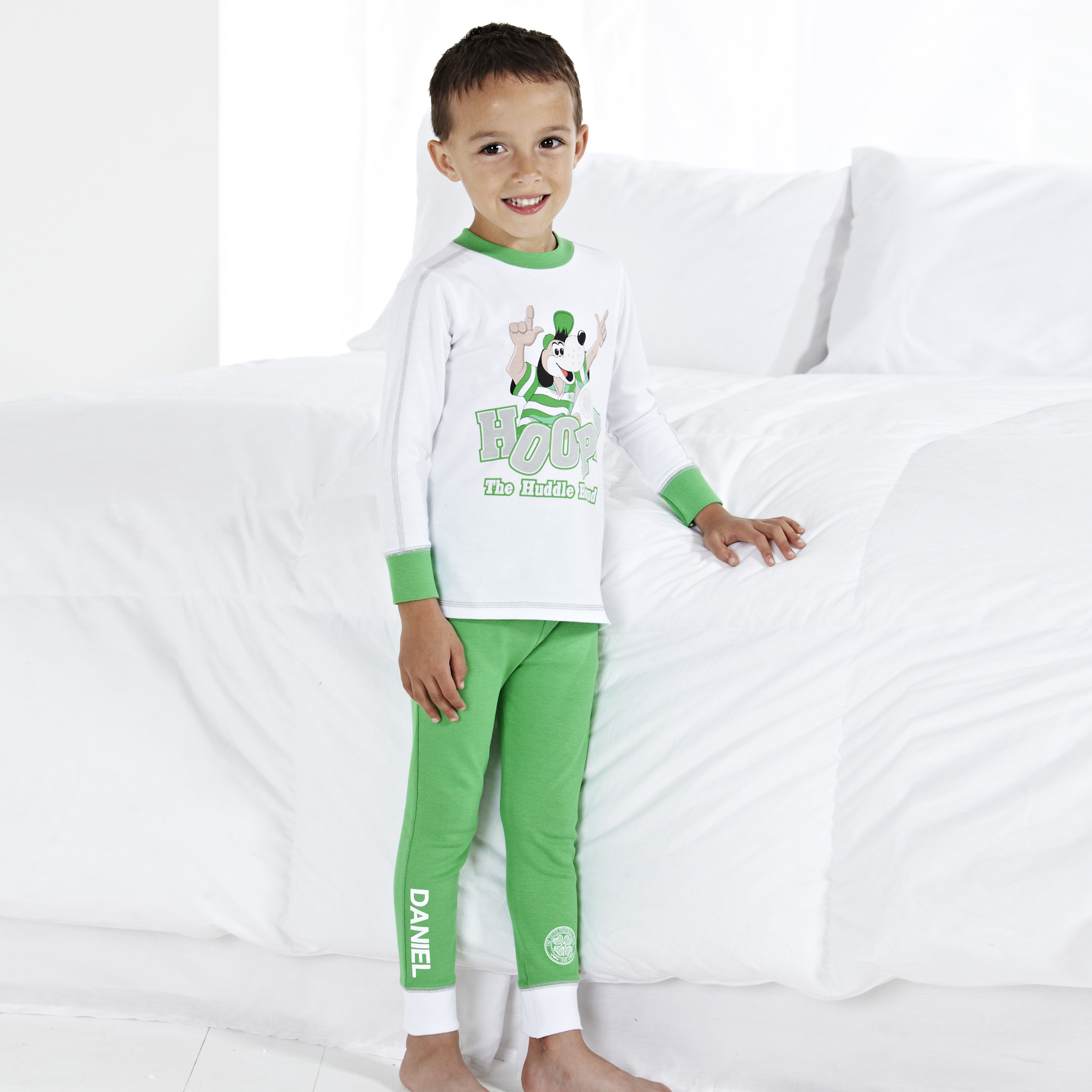Celtic Hoopy Snuggle Fit Pyjamas - White/Green - Infant Boys