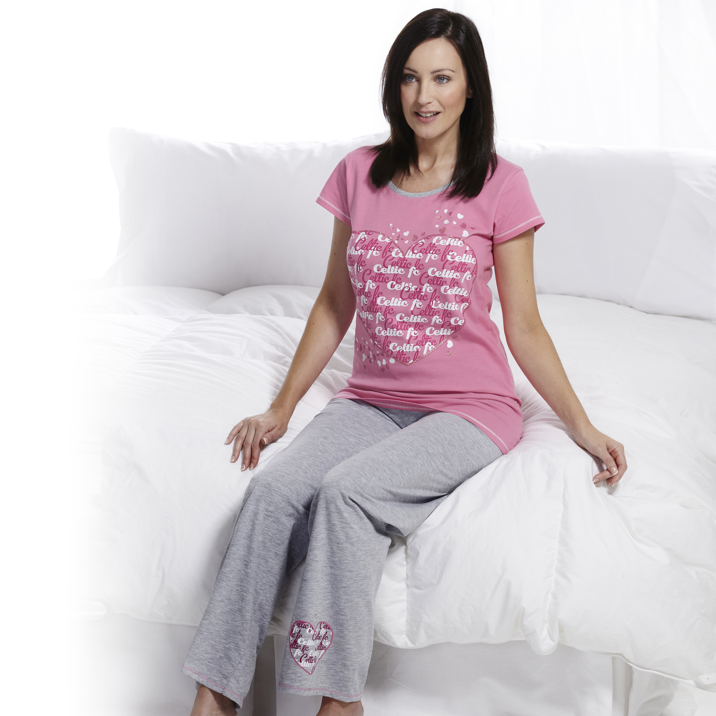 Celtic Heart Pyjamas - Pink/Grey - Womens