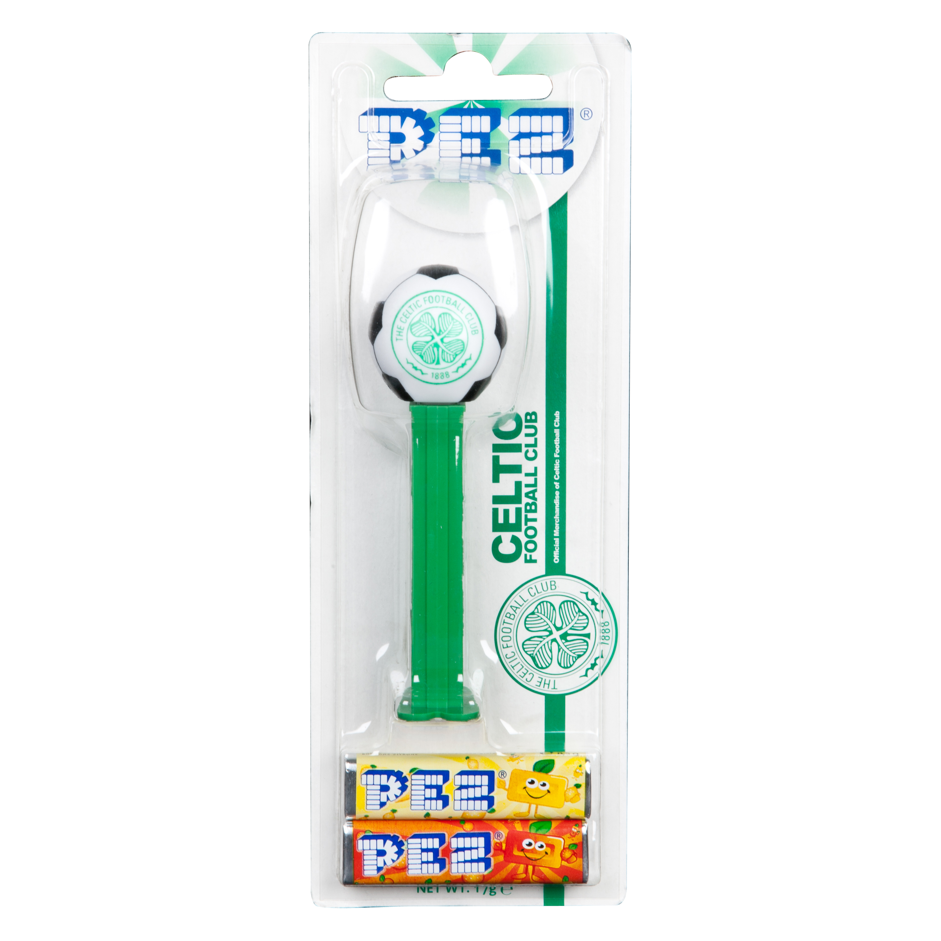 Celtic Football PEZ Dispenser with two candy PEZ refills