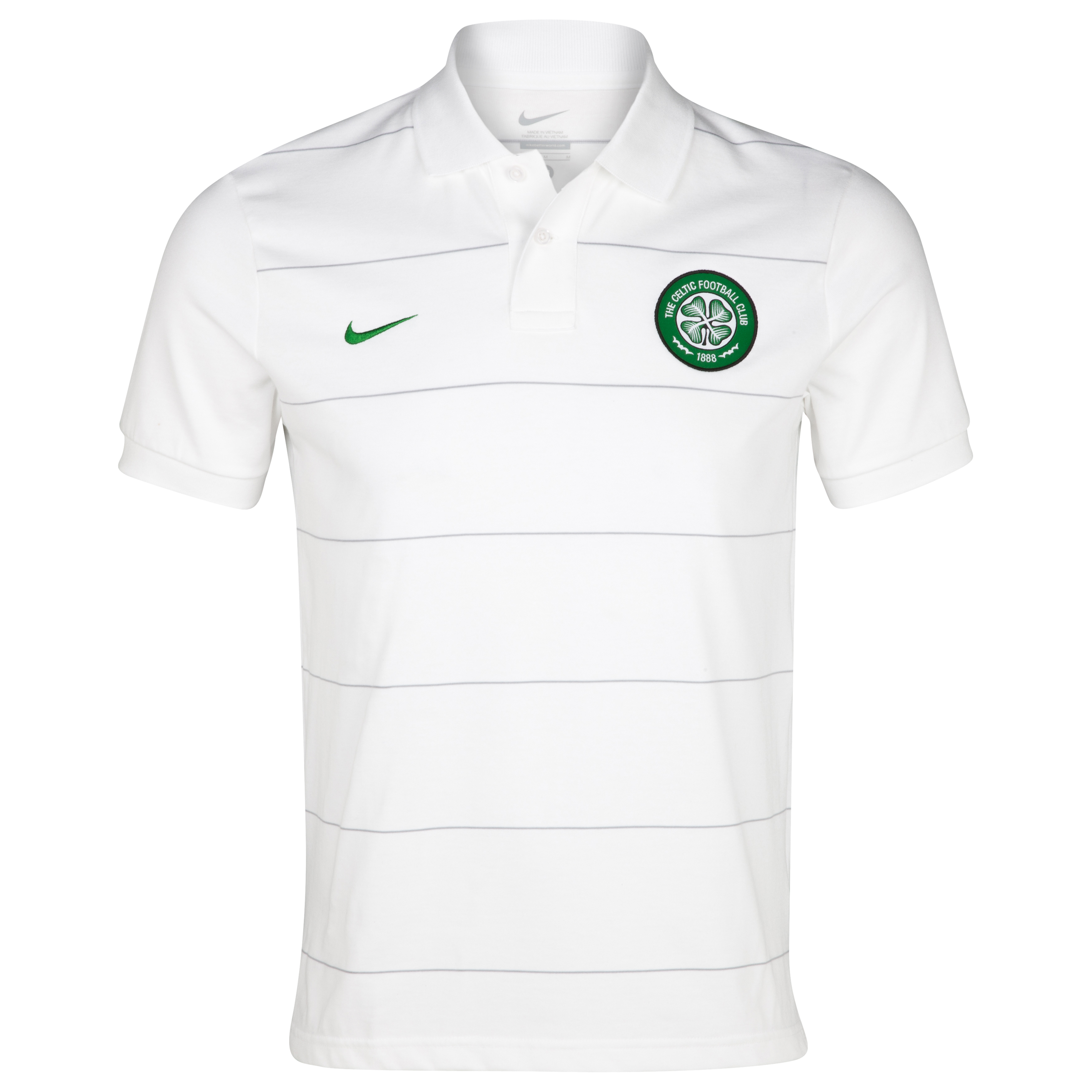 Celtic Authentic Grandslam Polo - White/Wolf Grey/Victory Green