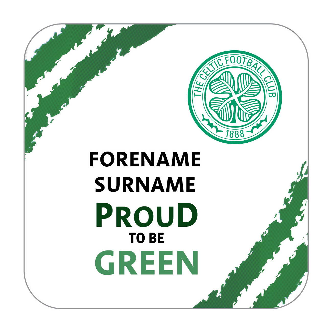 Celtic Personalised Proud to be Coaster Single