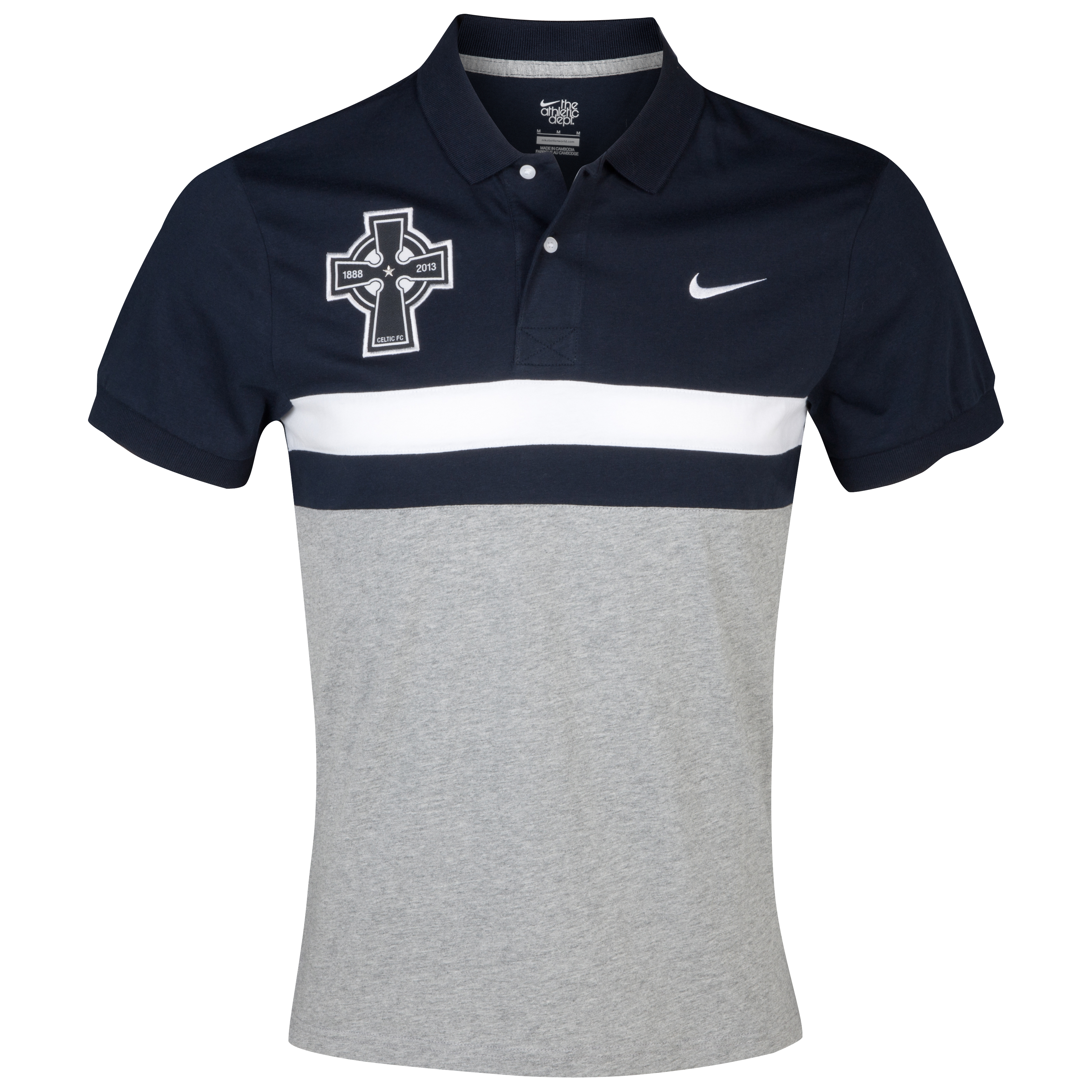 Celtic Contrast Panel Polo - Grey/Black