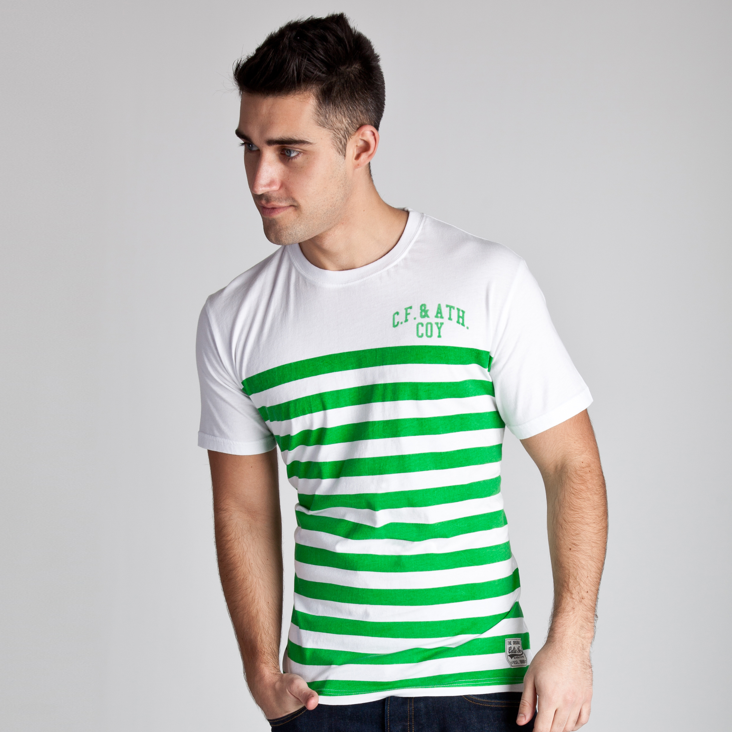 Celtic Heritage Striped T-Shirt - White/Tiller Green
