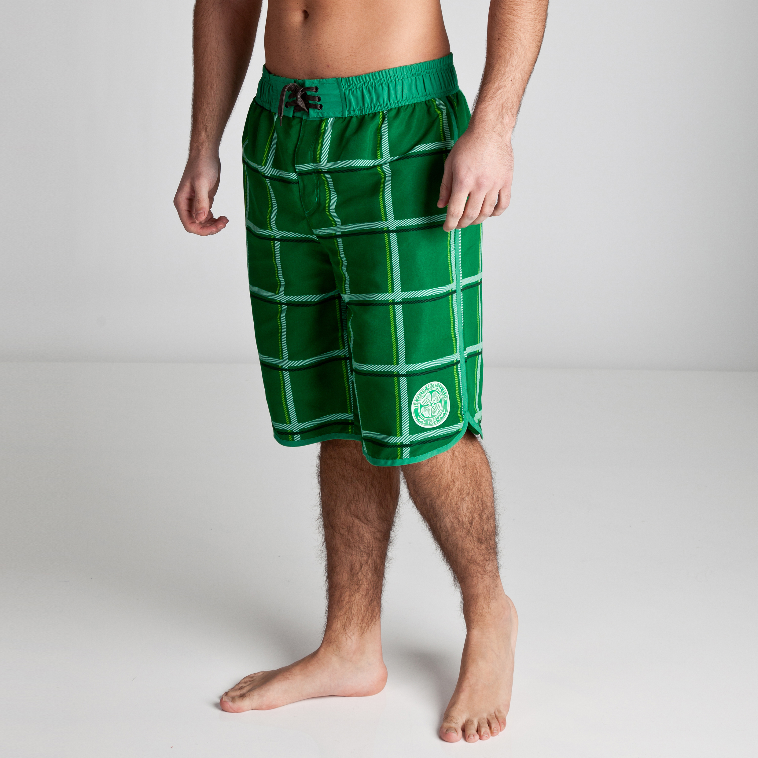 Celtic Essentials Woven Checked Board Shorts - Amazon Green