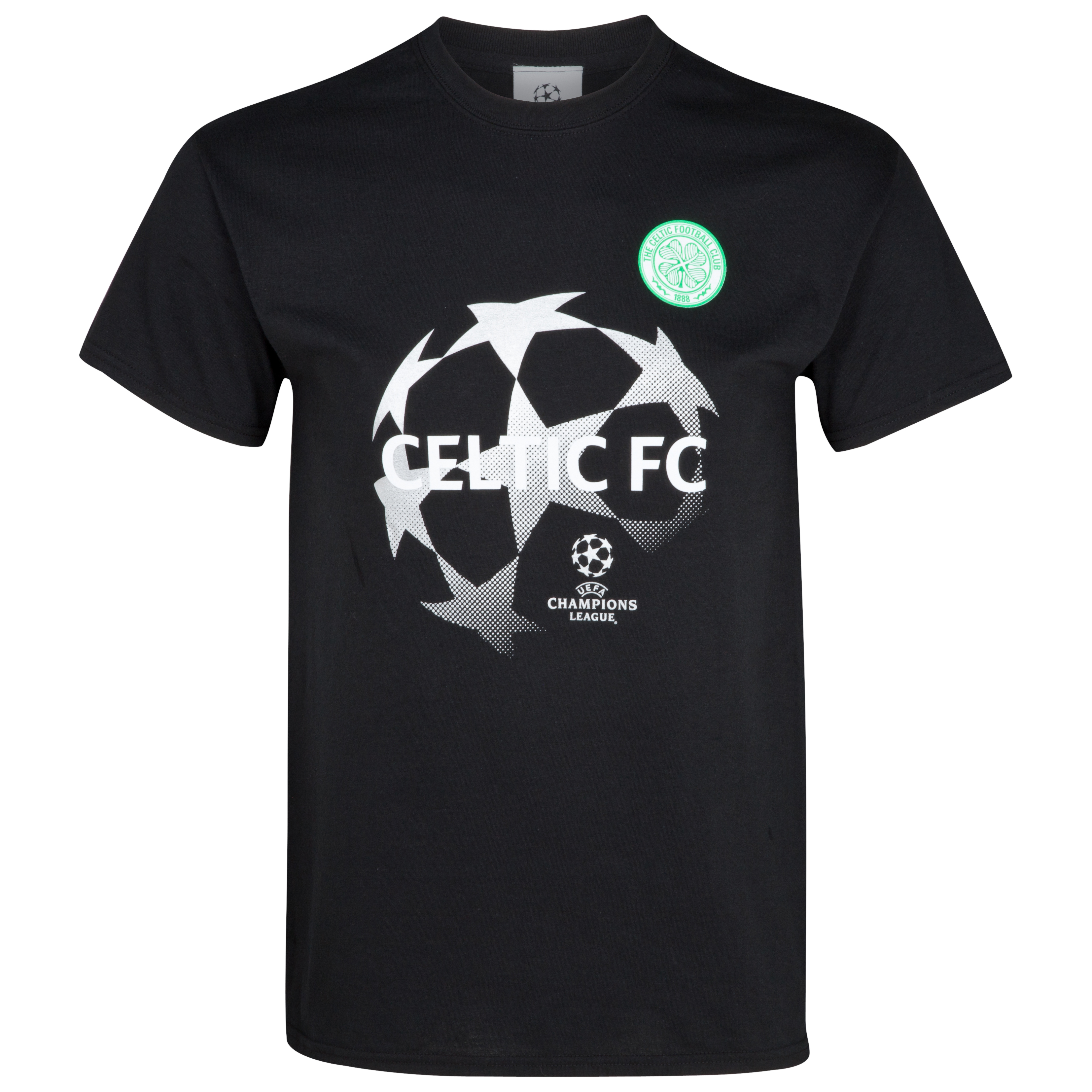 Celtic UEFA Champions League Metallic Print Starball T-Shirt  - Black - Junior