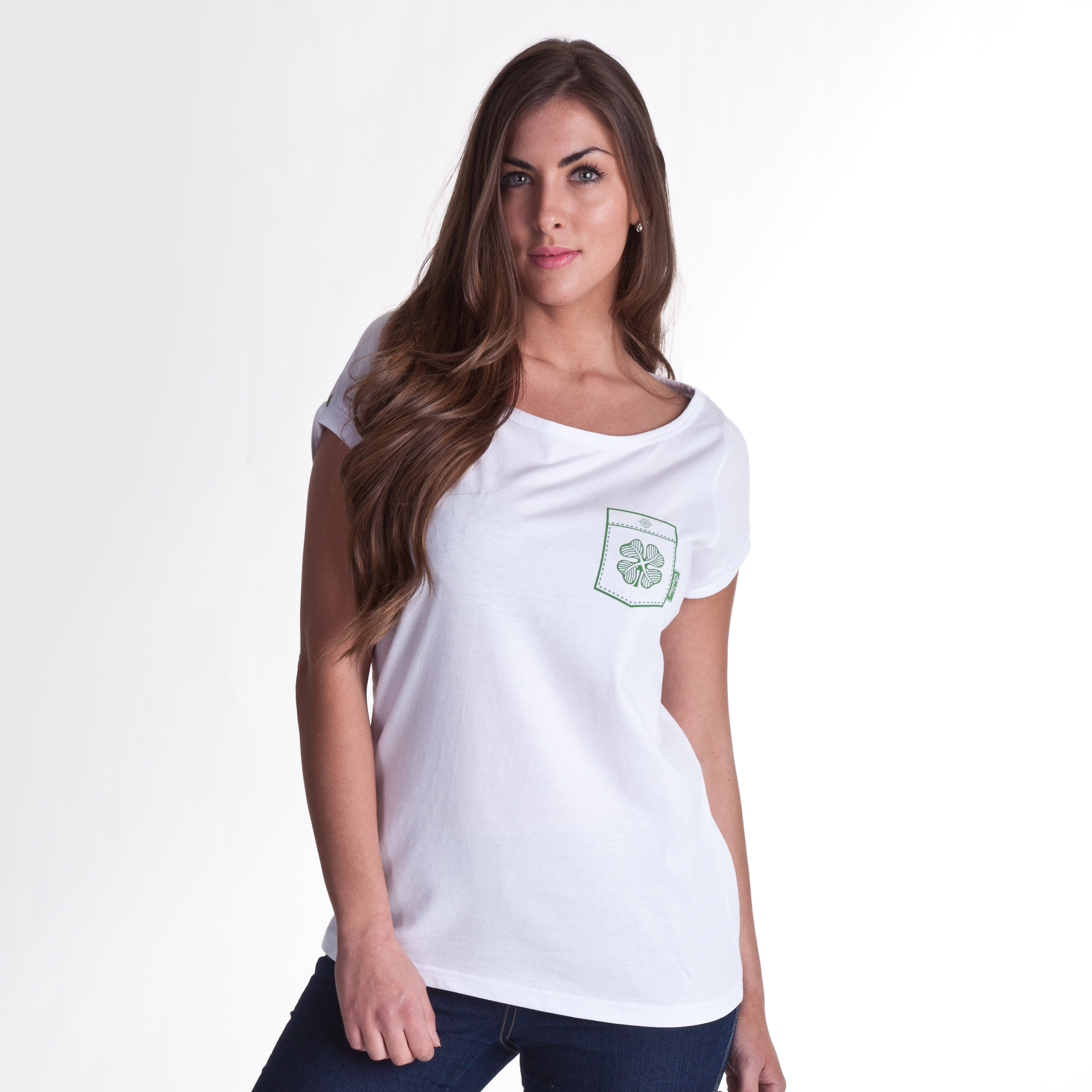 Celtic Pocket T-Shirt - White - Womens