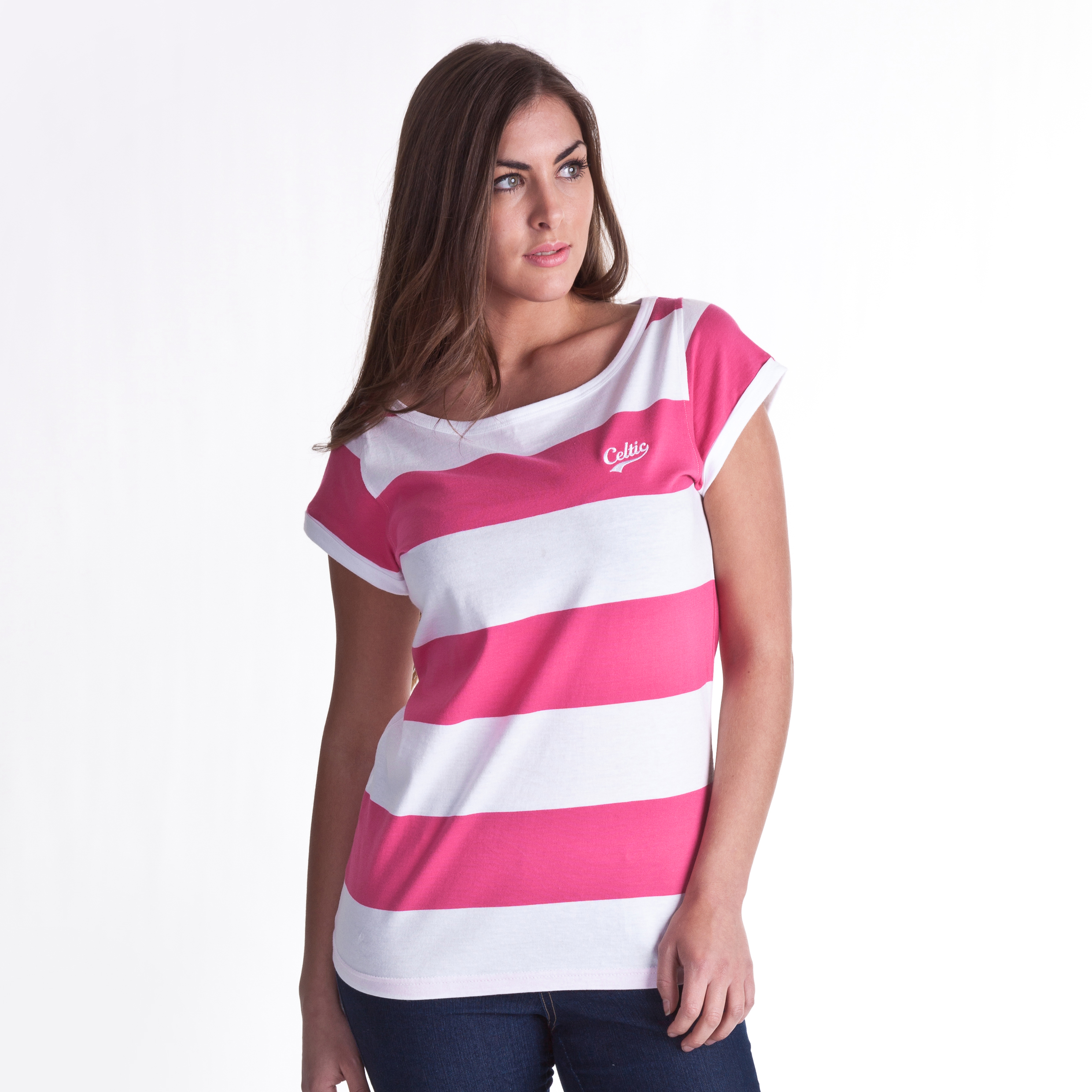 Celtic Block Stripe T-Shirt - Pink/White - Womens