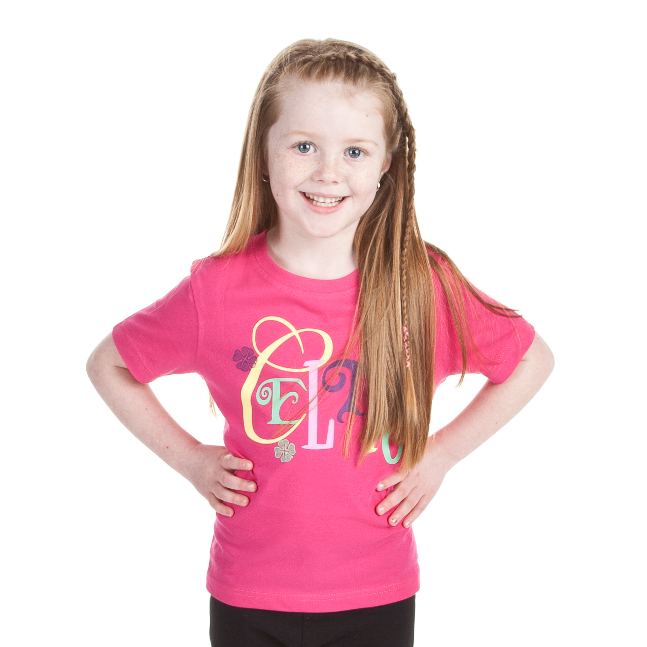 Celtic Gloss Print T-Shirt - Pink - Girls