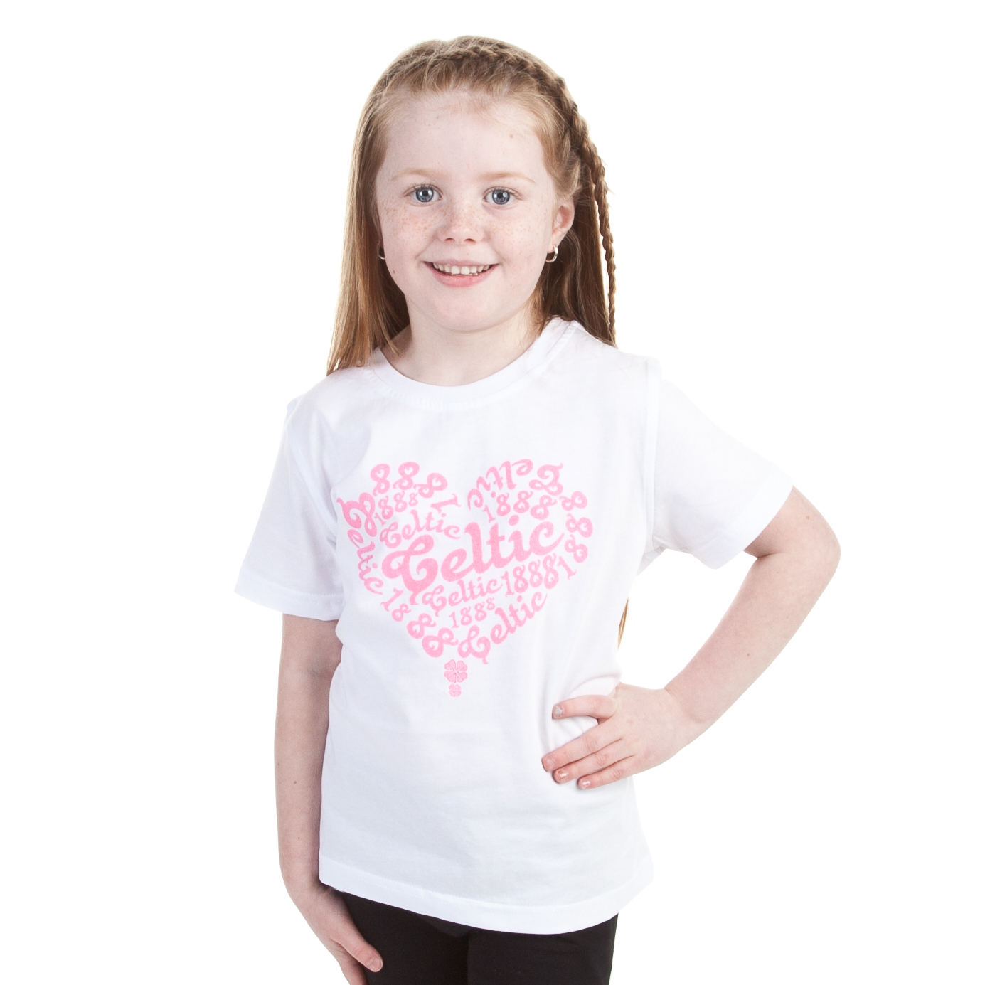 Celtic Heart Glitter T-Shirt - White - Girls
