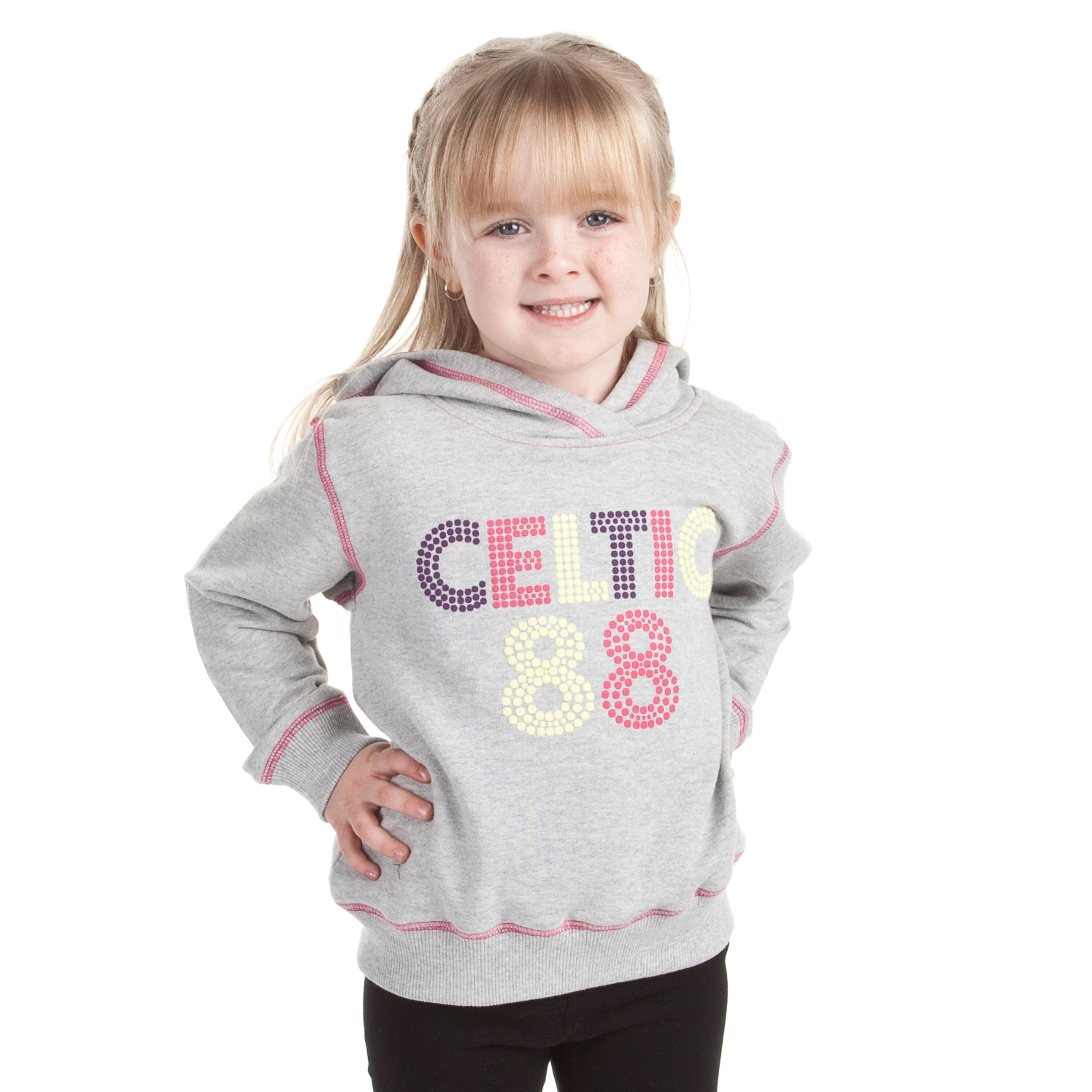 Celtic Coloured Print Hoody - Grey Marl - Girls