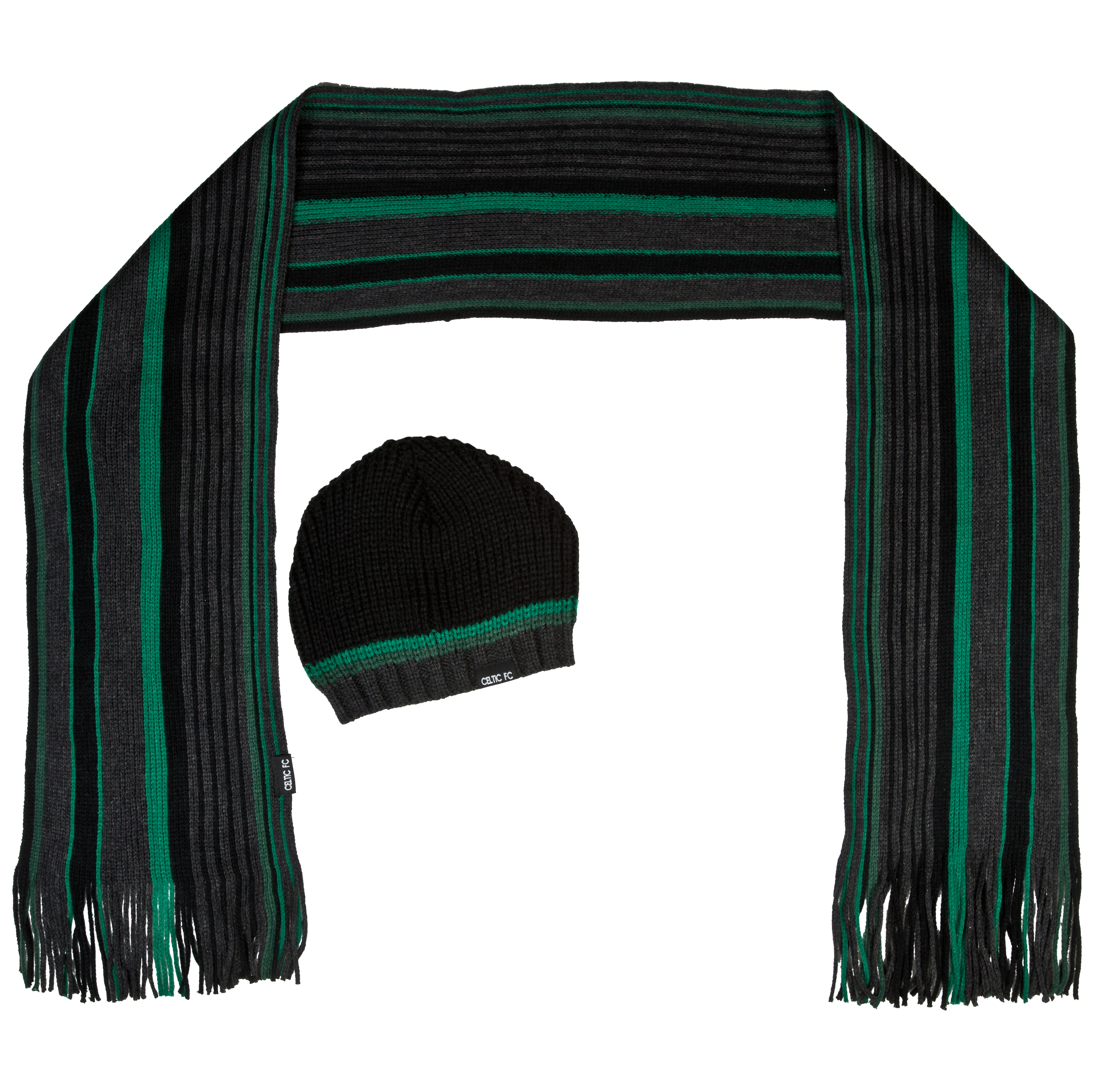 Celtic Hat and Scarf Box Set - Black/Grey - Mens