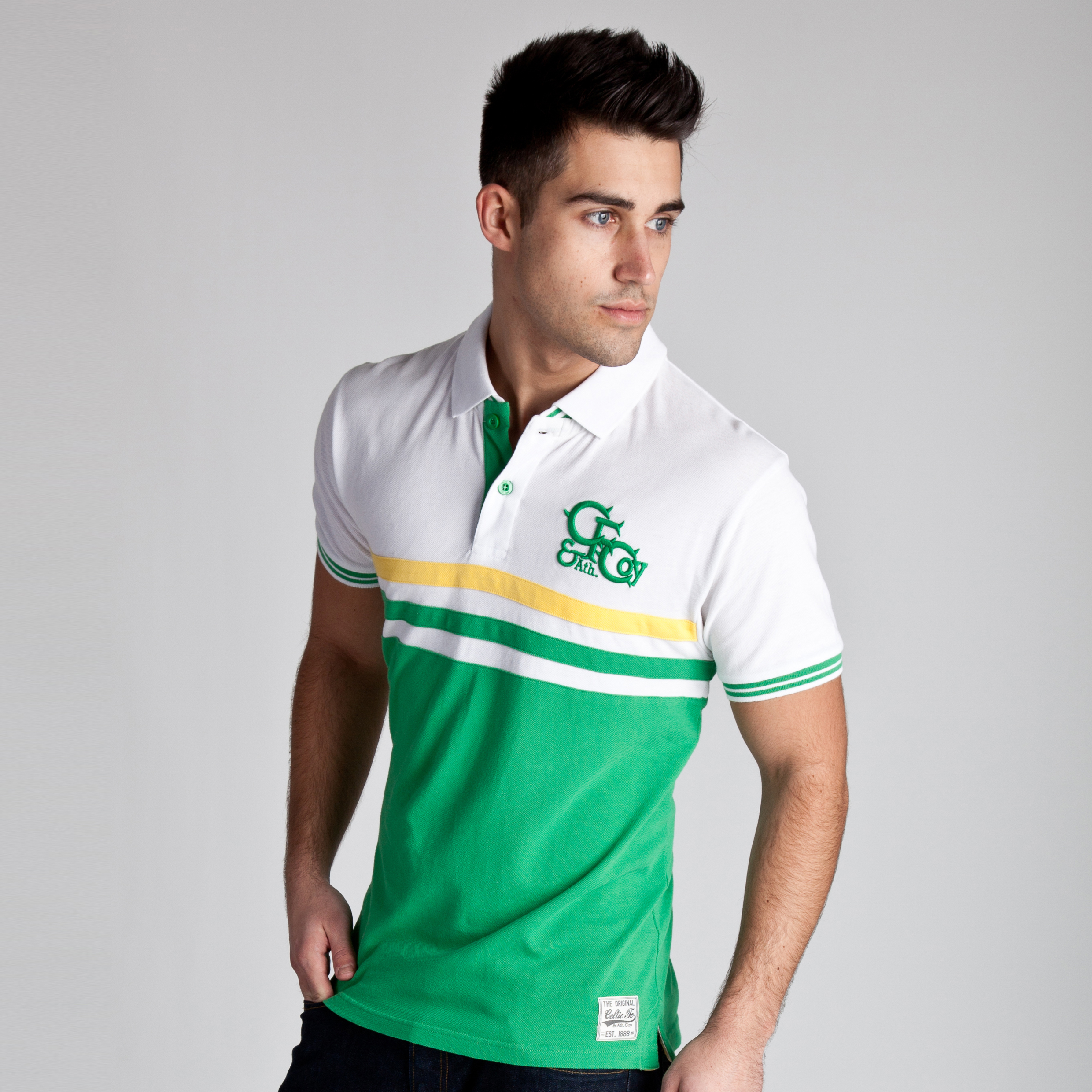 Celtic Heritage Cut and Sew Paneled Polo - Tiller Green - Mens