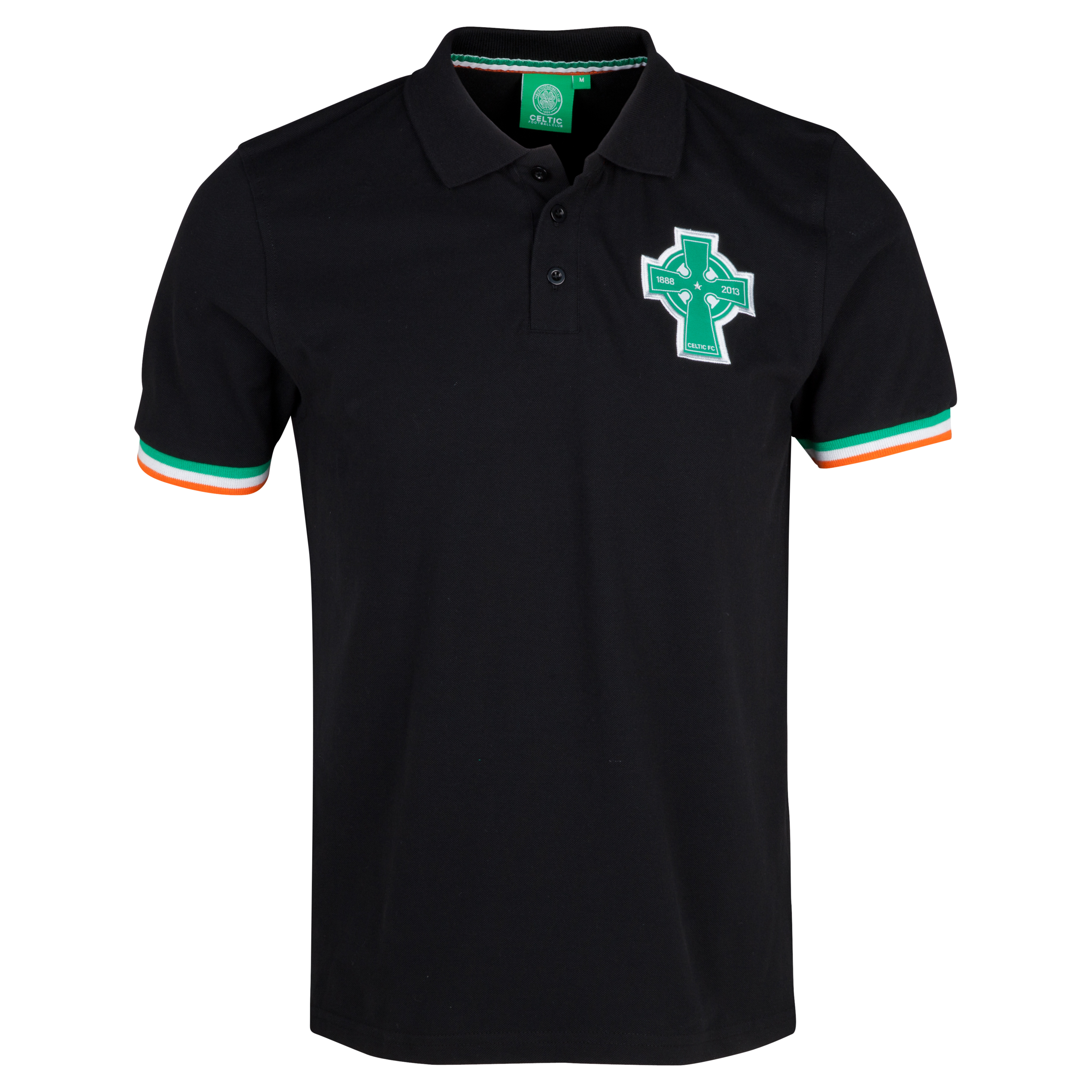Celtic 125th Year Anniversary Cross Tri Colour Polo - Black - Mens