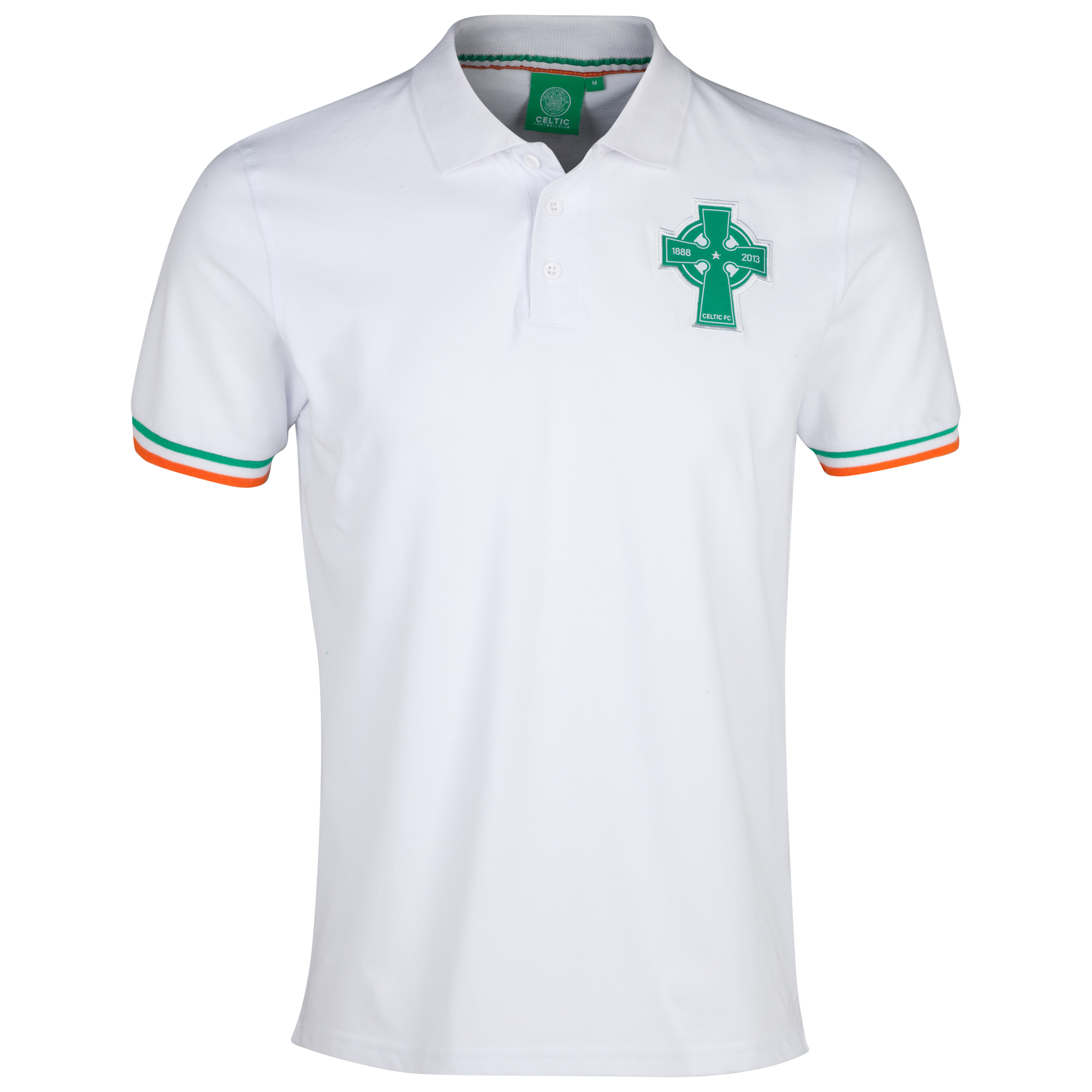 Celtic 125th Year Anniversary Cross Tri Colour Polo - White - Mens