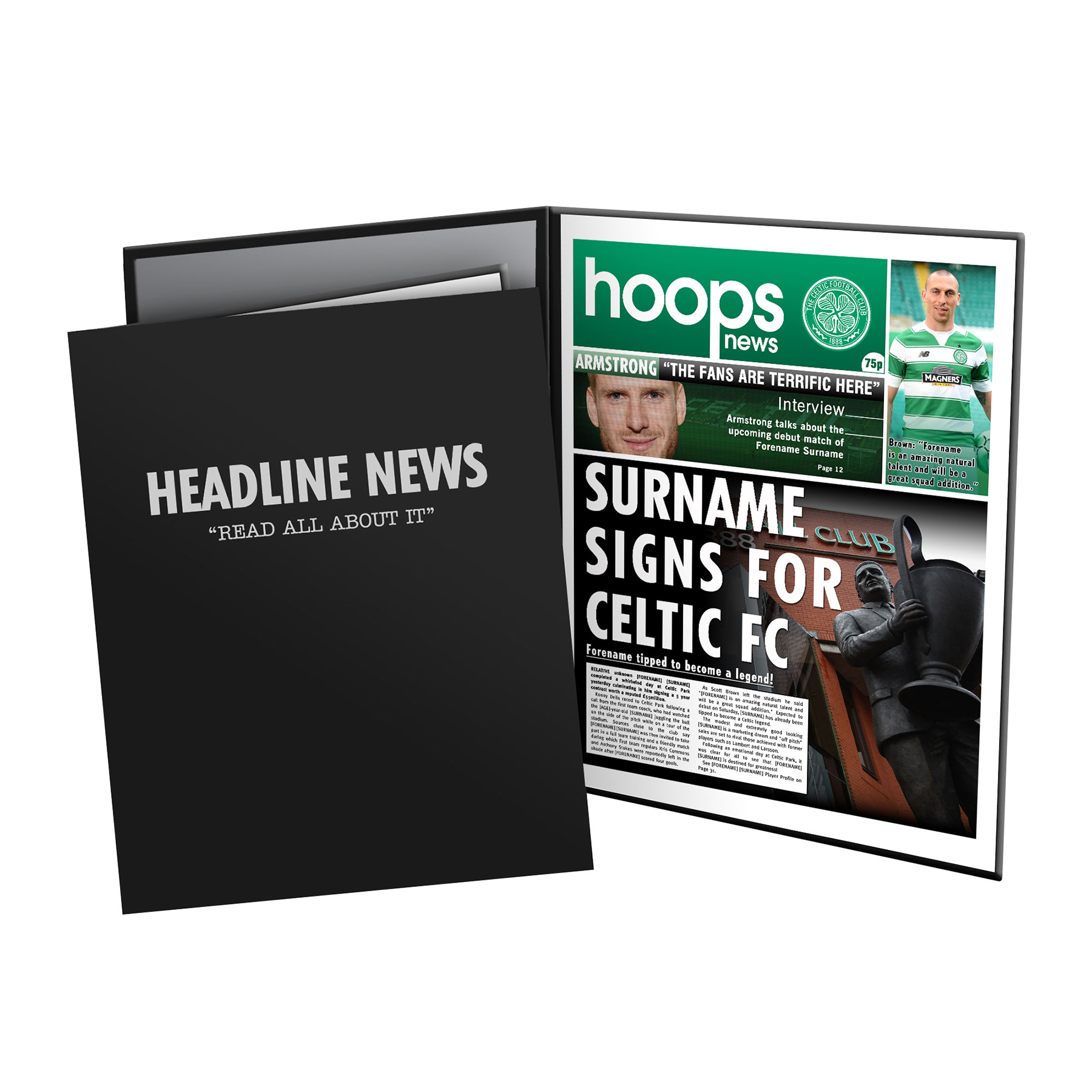 Celtic Personalised Newspaper in Presentation Folder