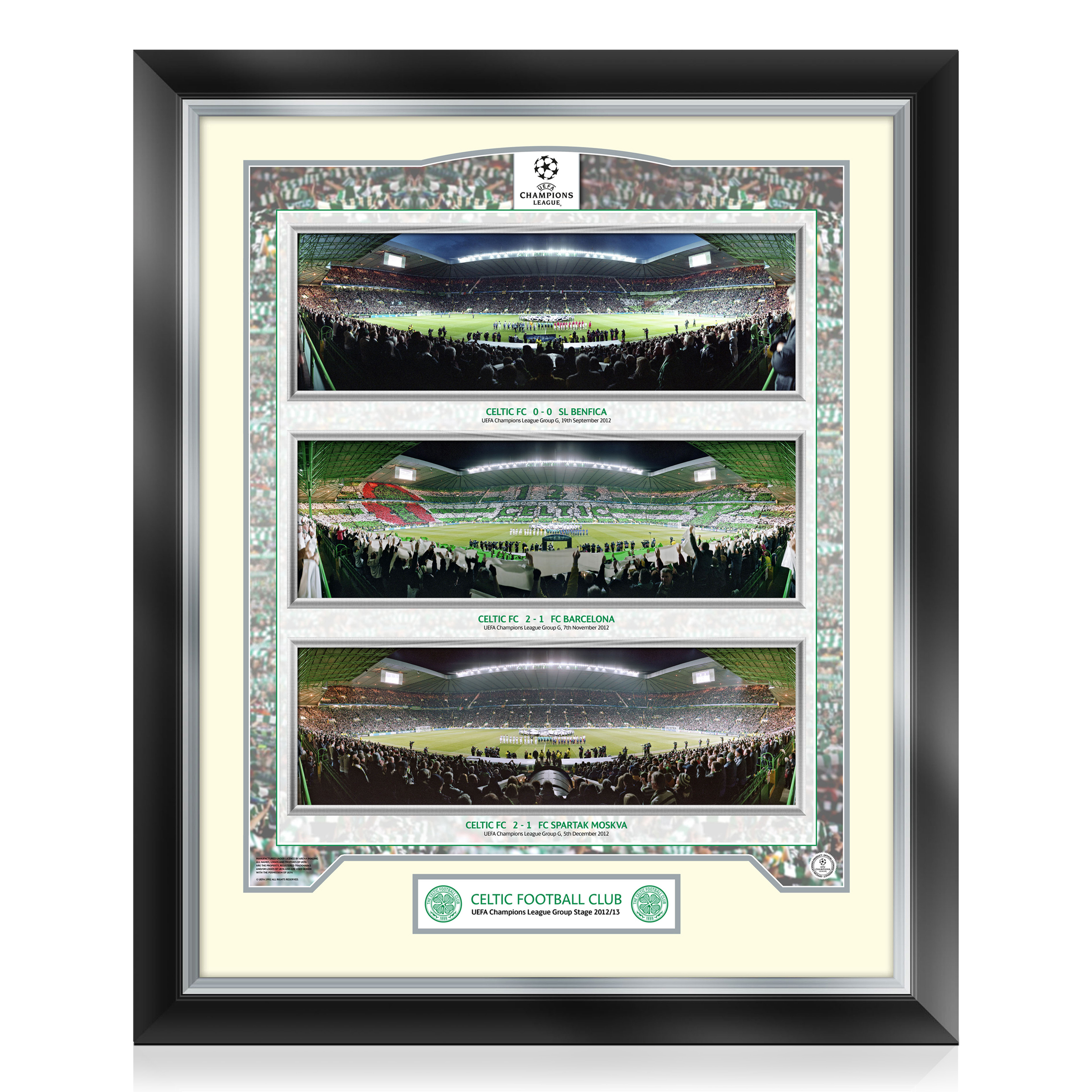 Celtic Triple Panoramic Champions League Framed Print