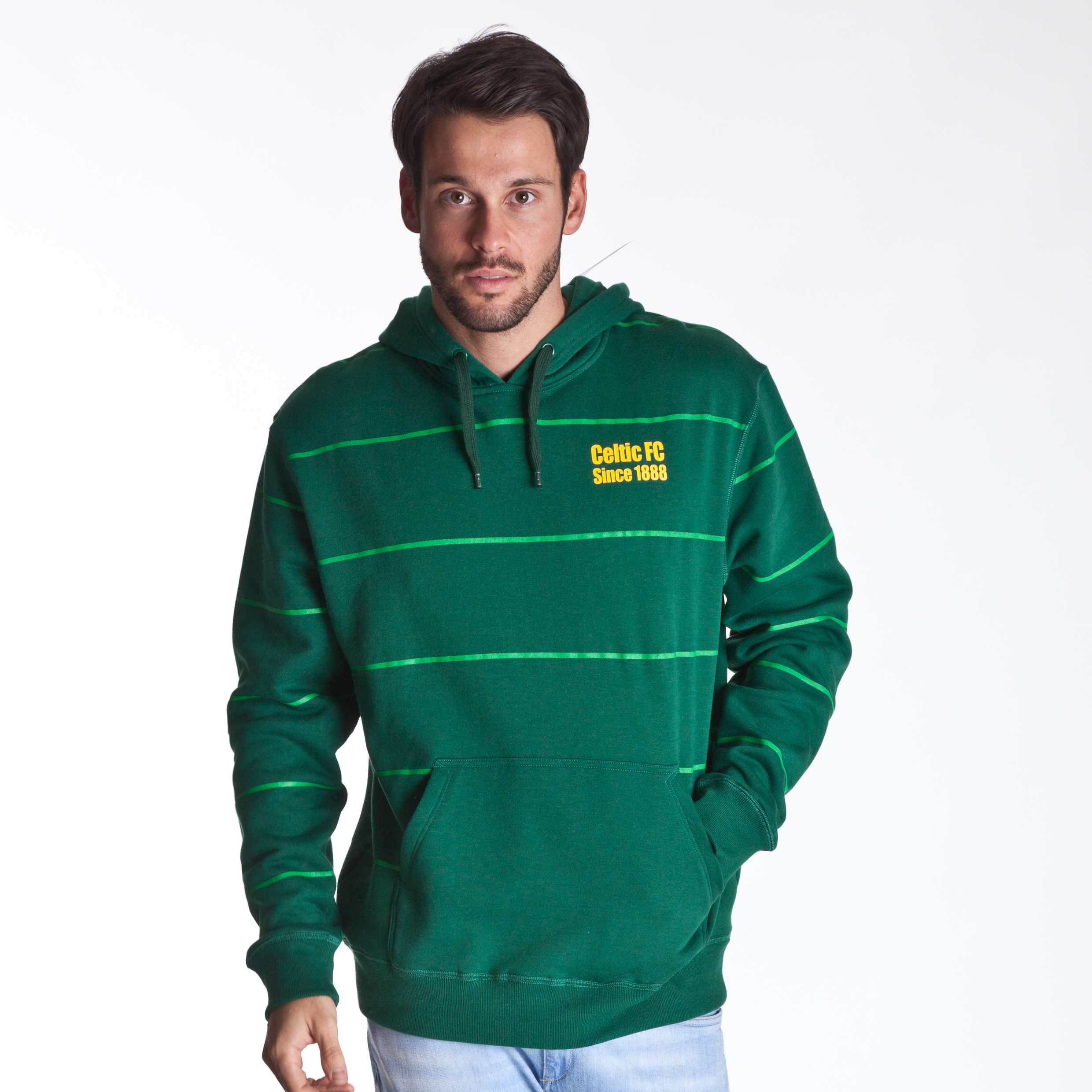 Celtic Essentials Striped Hoody  - Mens Green
