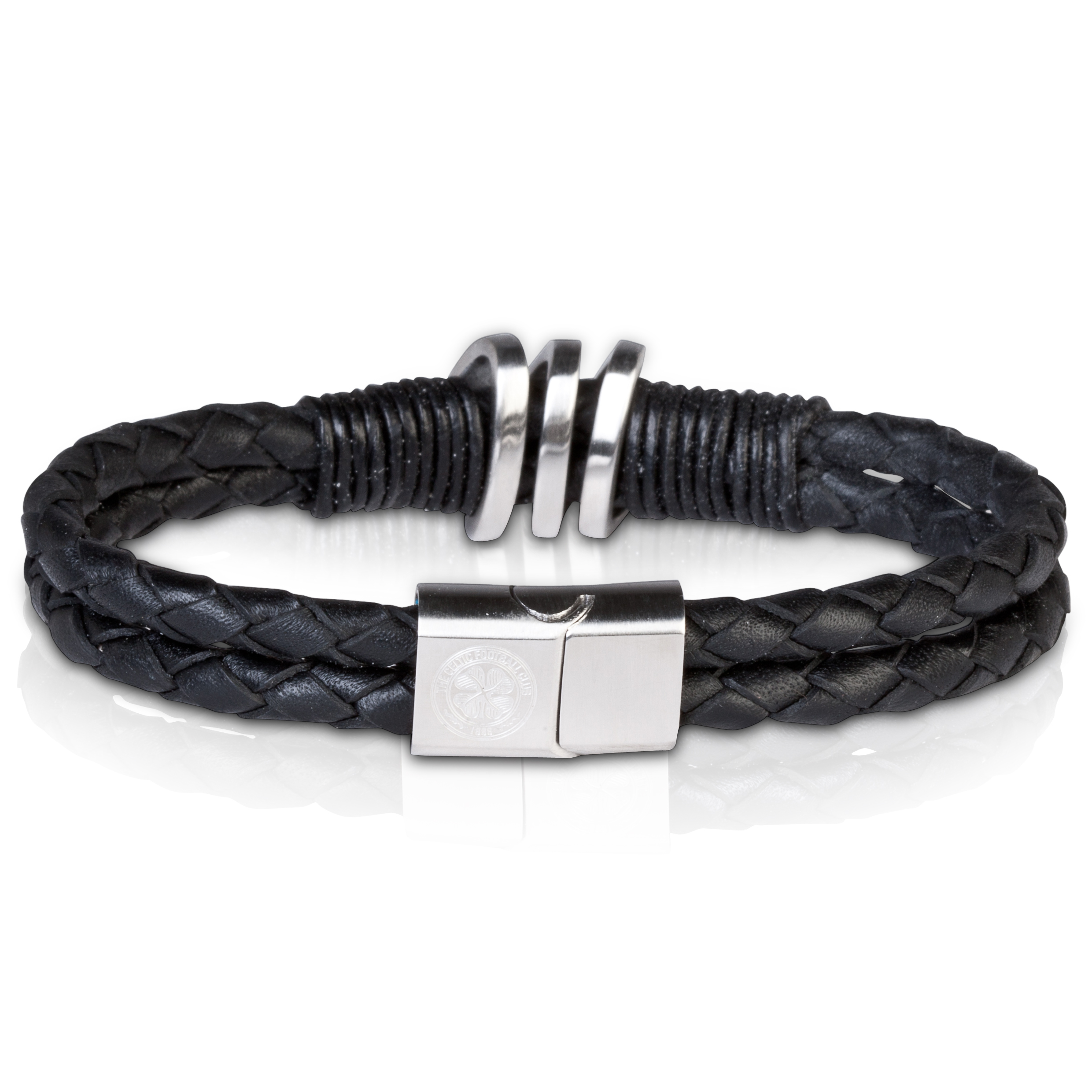 Celtic Black Leather Bracelet - Stainless Steel