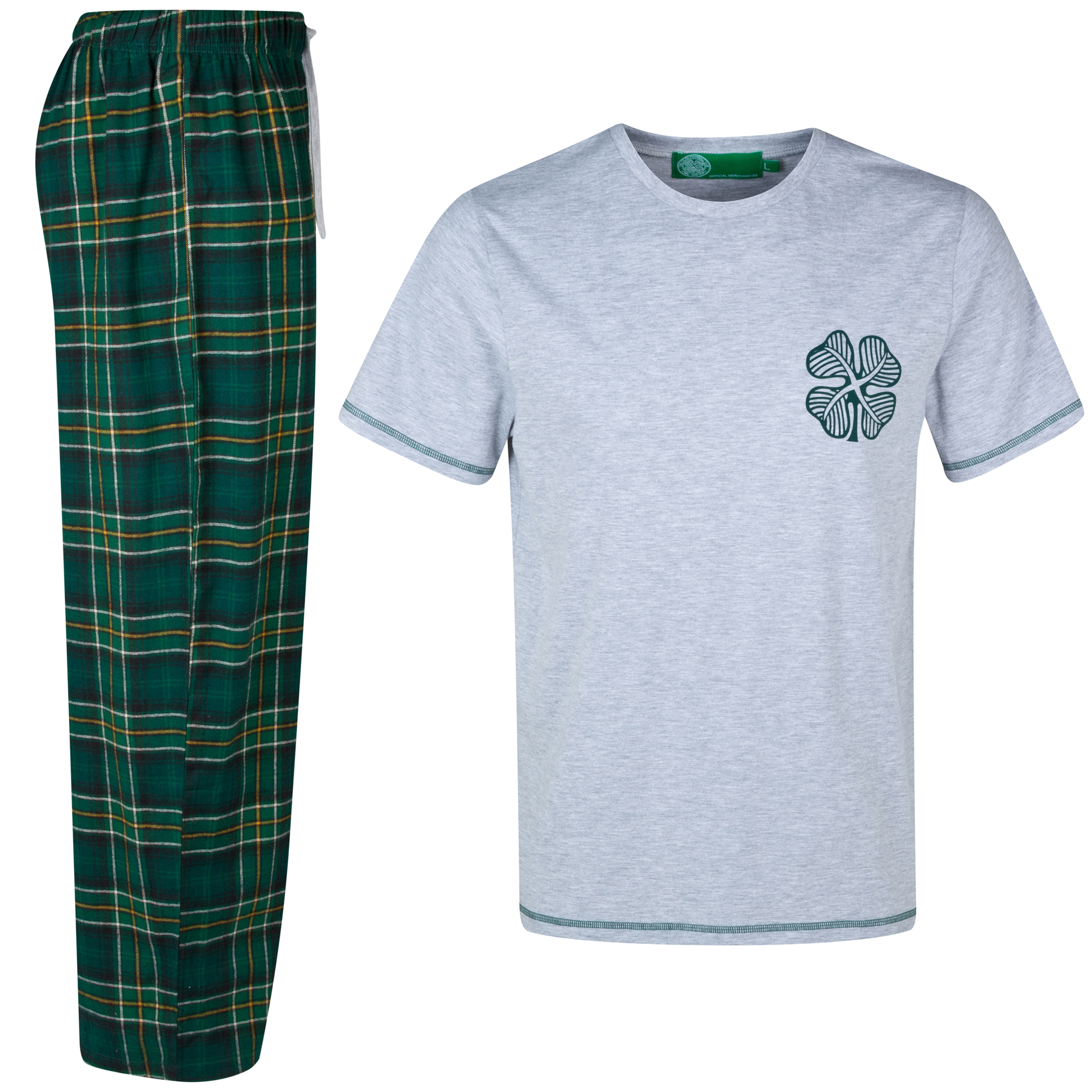Celtic Tartan Long Pyja mas - Grey Marl/Green - Mens