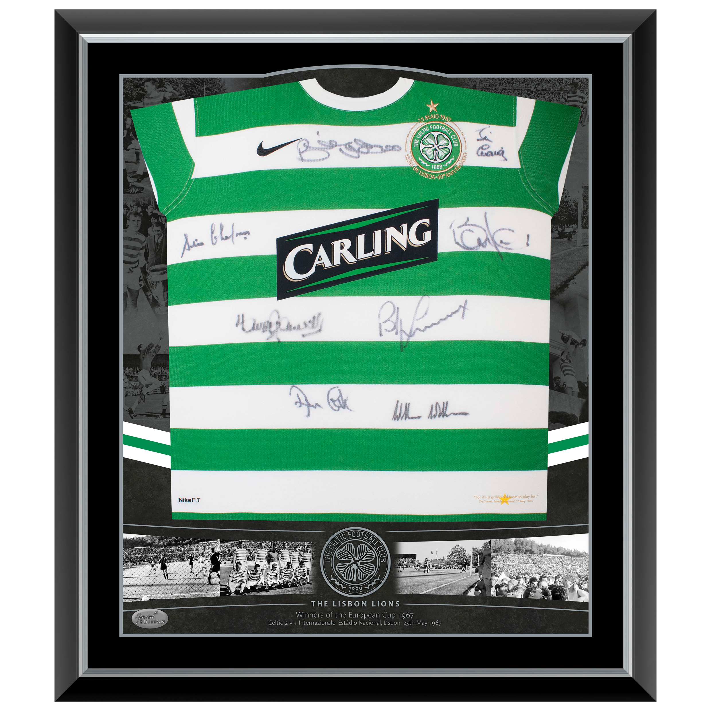 Celtic Signed Framed Lisbon Home Shirt