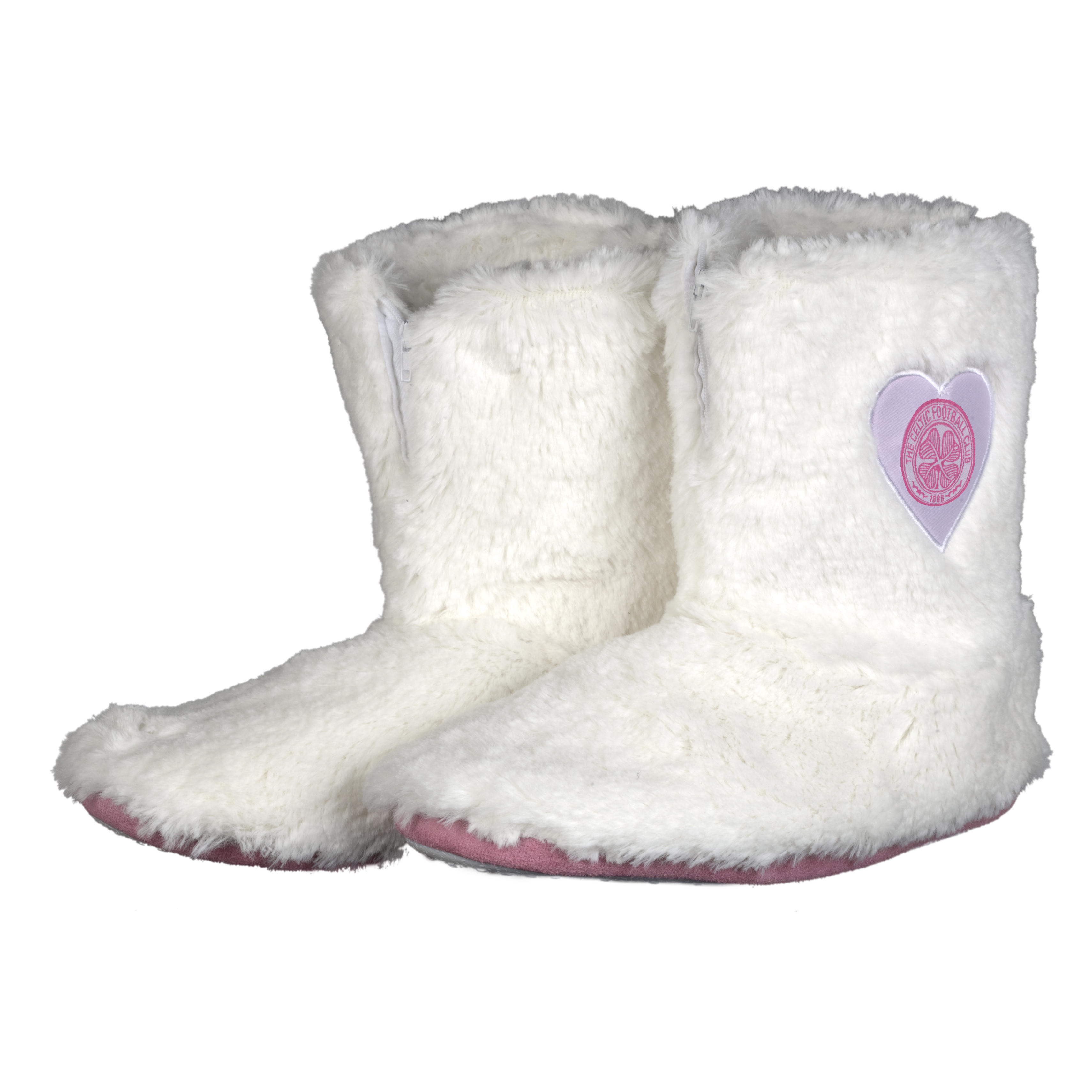 Celtic Fur Boot Slipper - White/Pink - Womens