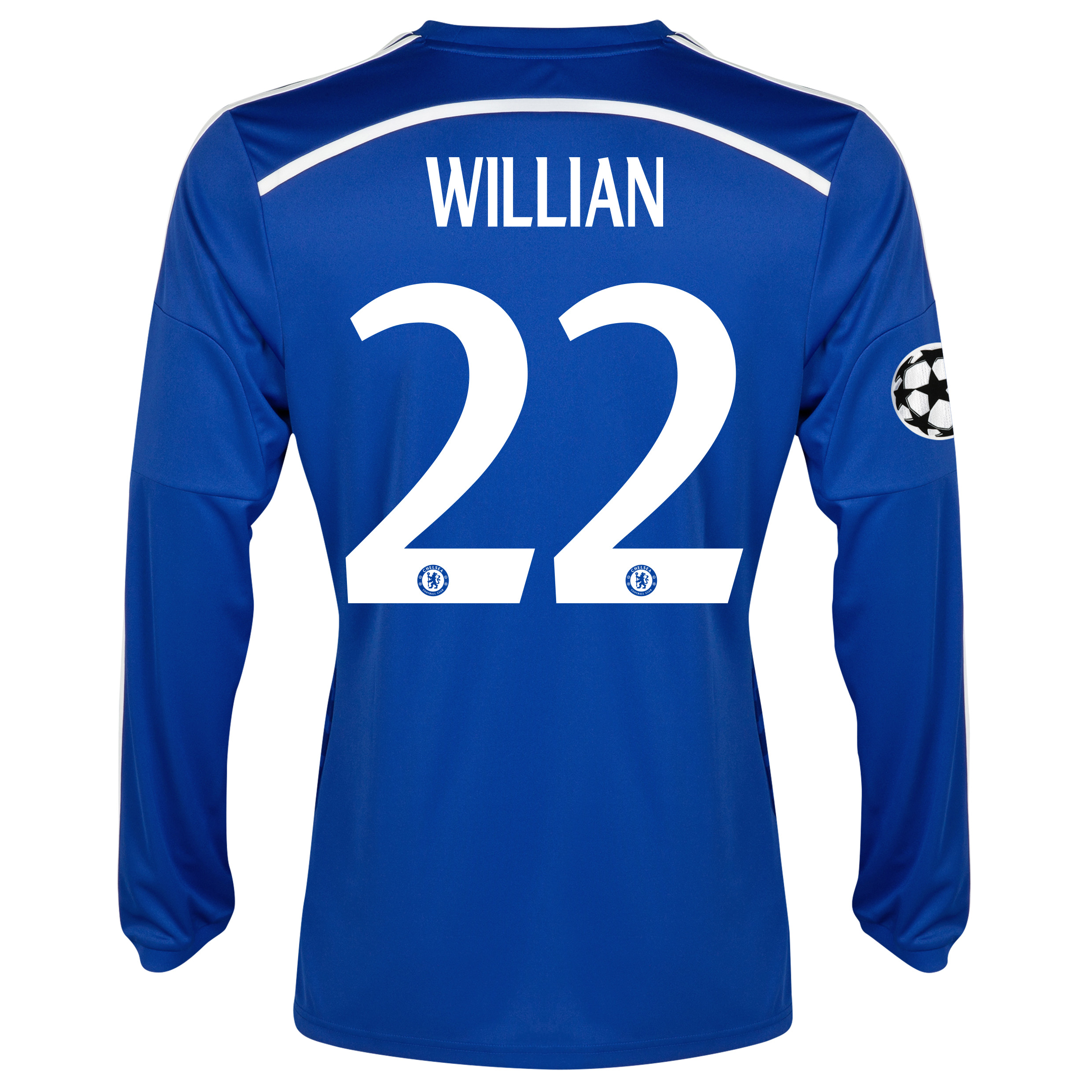Chelsea UEFA Champions League Home Shirt 2014/15 - Long Sleeve Blue with Willian 22 printing