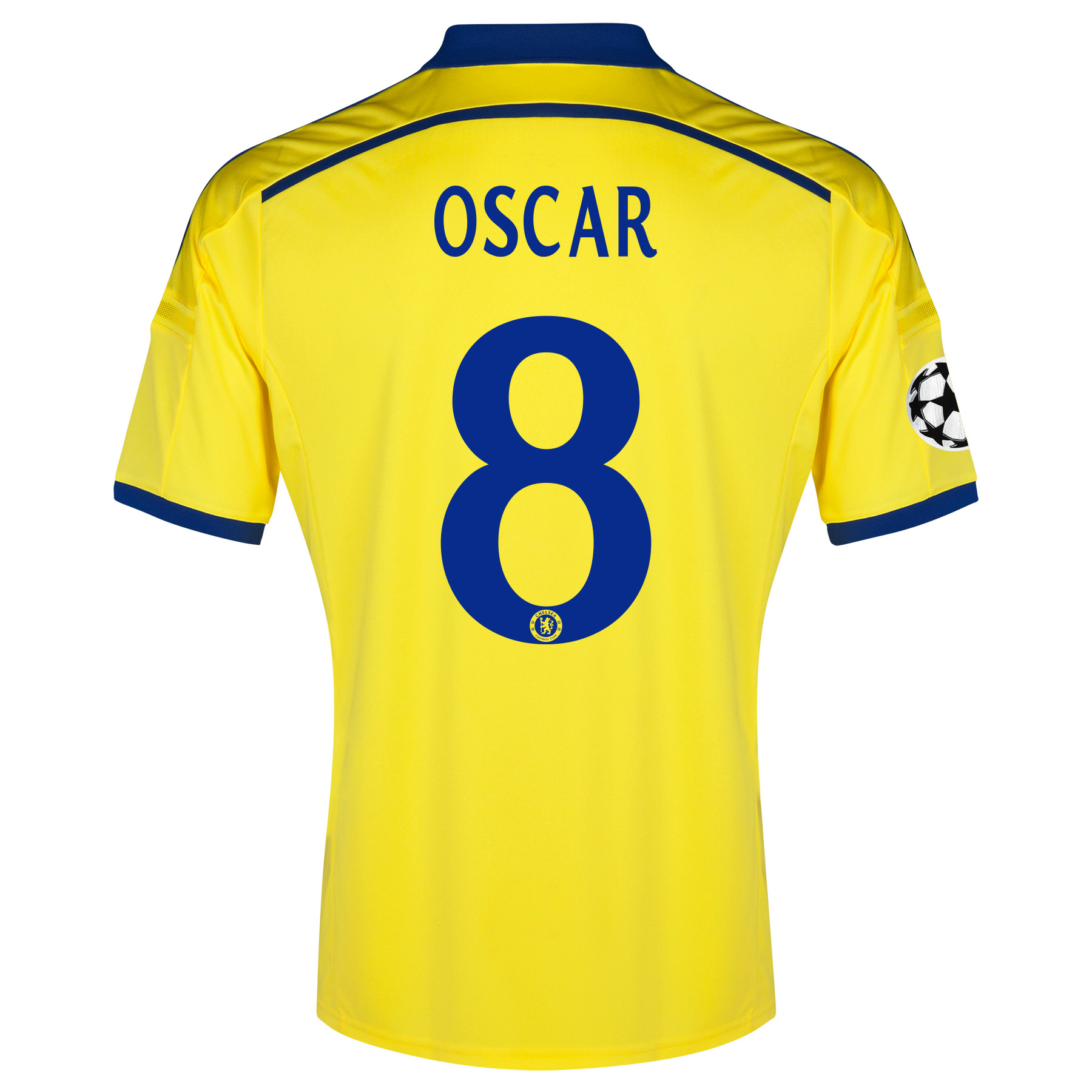 Chelsea UEFA Champions League Away Shirt 2014/15 Yellow with Oscar 11 printing