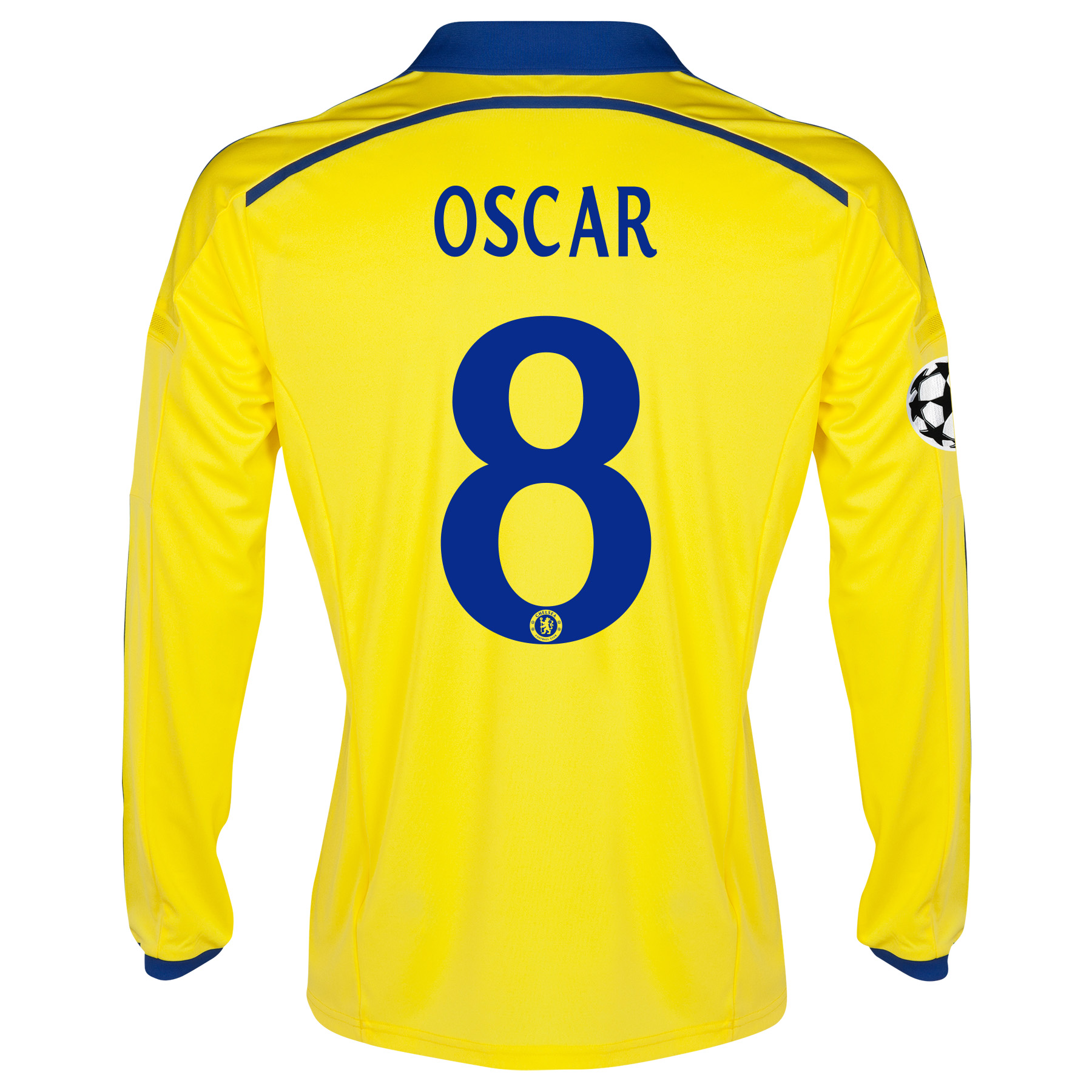 Chelsea UEFA Champions League Away Shirt 2014/15 - Long Sleeve - Kids Yellow with Oscar 11 printing