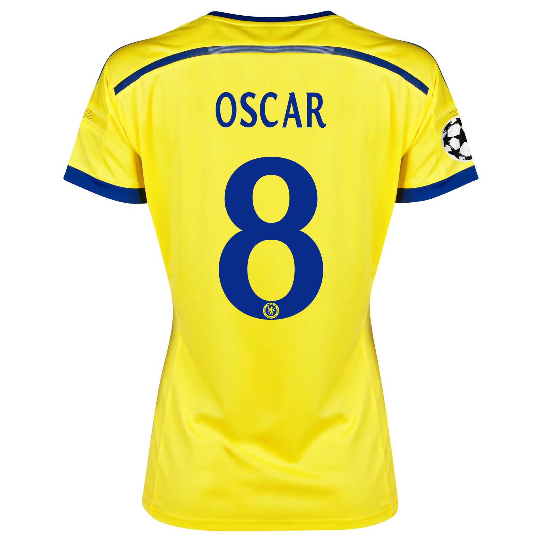 Chelsea UEFA Champions League Away Shirt 2014/15 - Womens Yellow with Oscar 11 printing