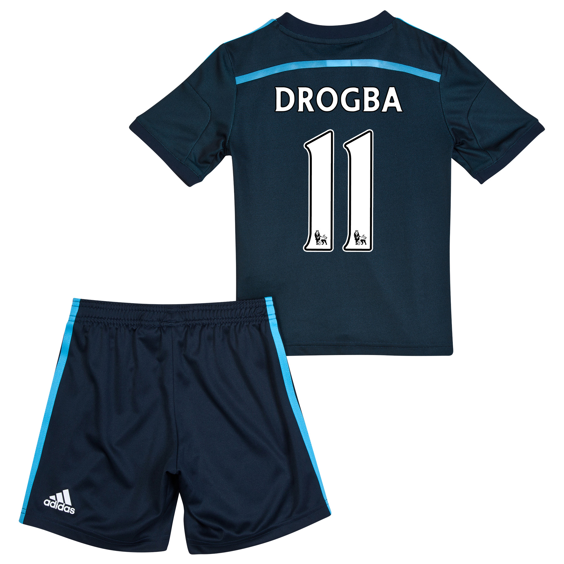 Chelsea Third Mini Kit 2014/15   Let your little one support their favourite team with pride and style with this dark blue 2014/15 Chelsea Third Mini Kit. Styled with the team crest on the left of the chest and adidas three stripe logo on the right, your child can wear this set for tea