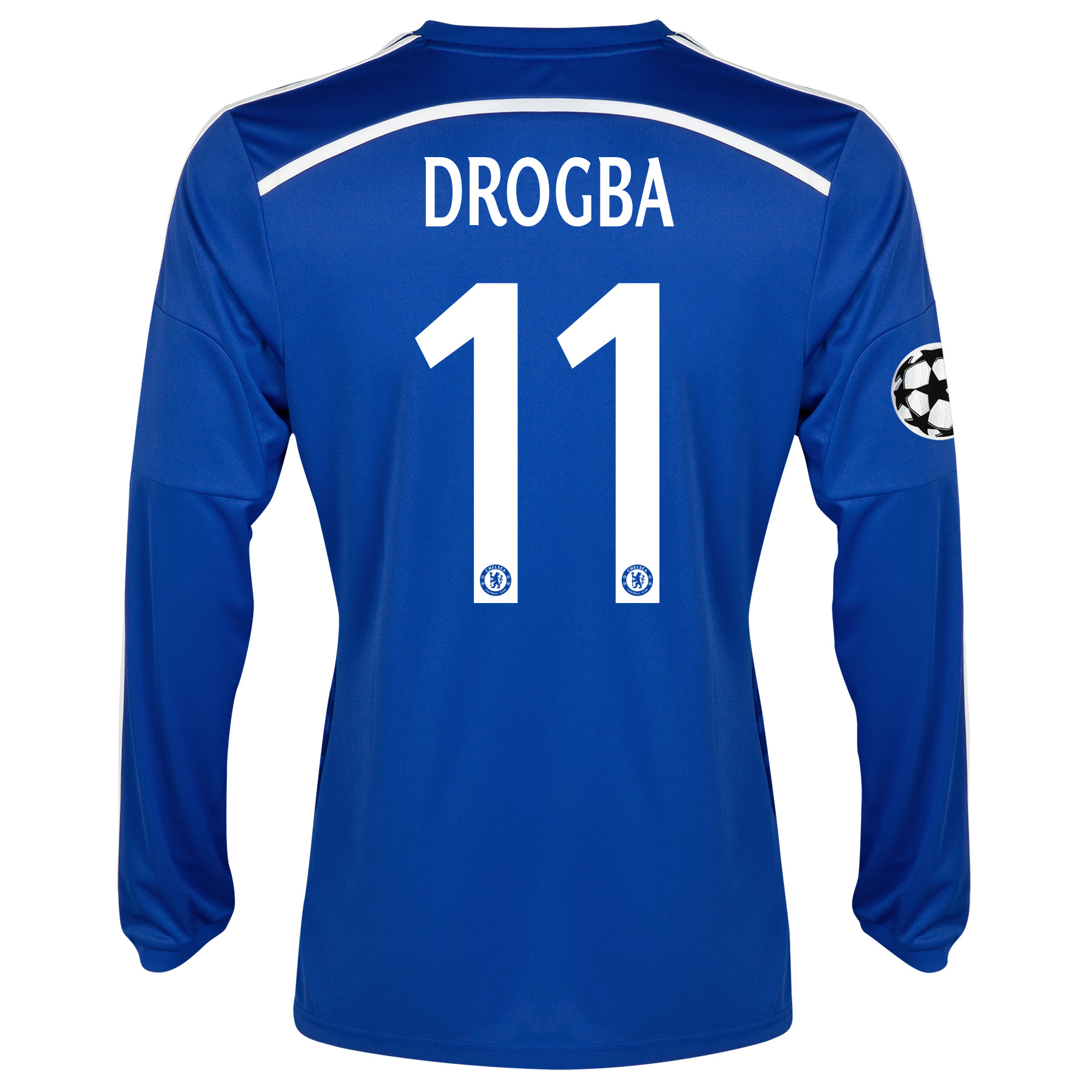 Chelsea Uefa Champions League Home Shirt 2014/15 - Long Sleeve - Kids with Drogba 11 printing