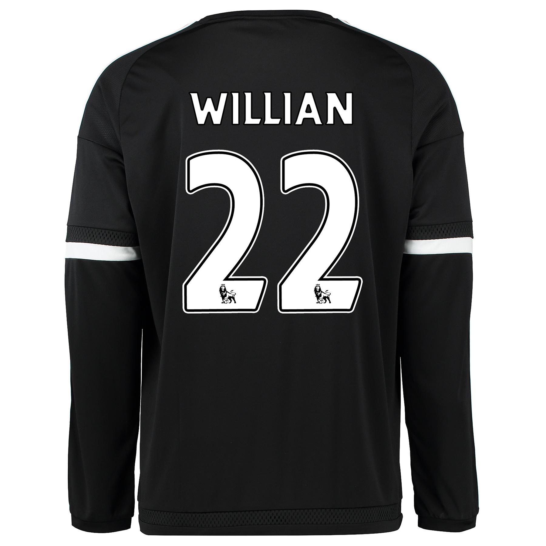 Chelsea Third Shirt 2015/16 - Long Sleeve Black with Willian 22 printi