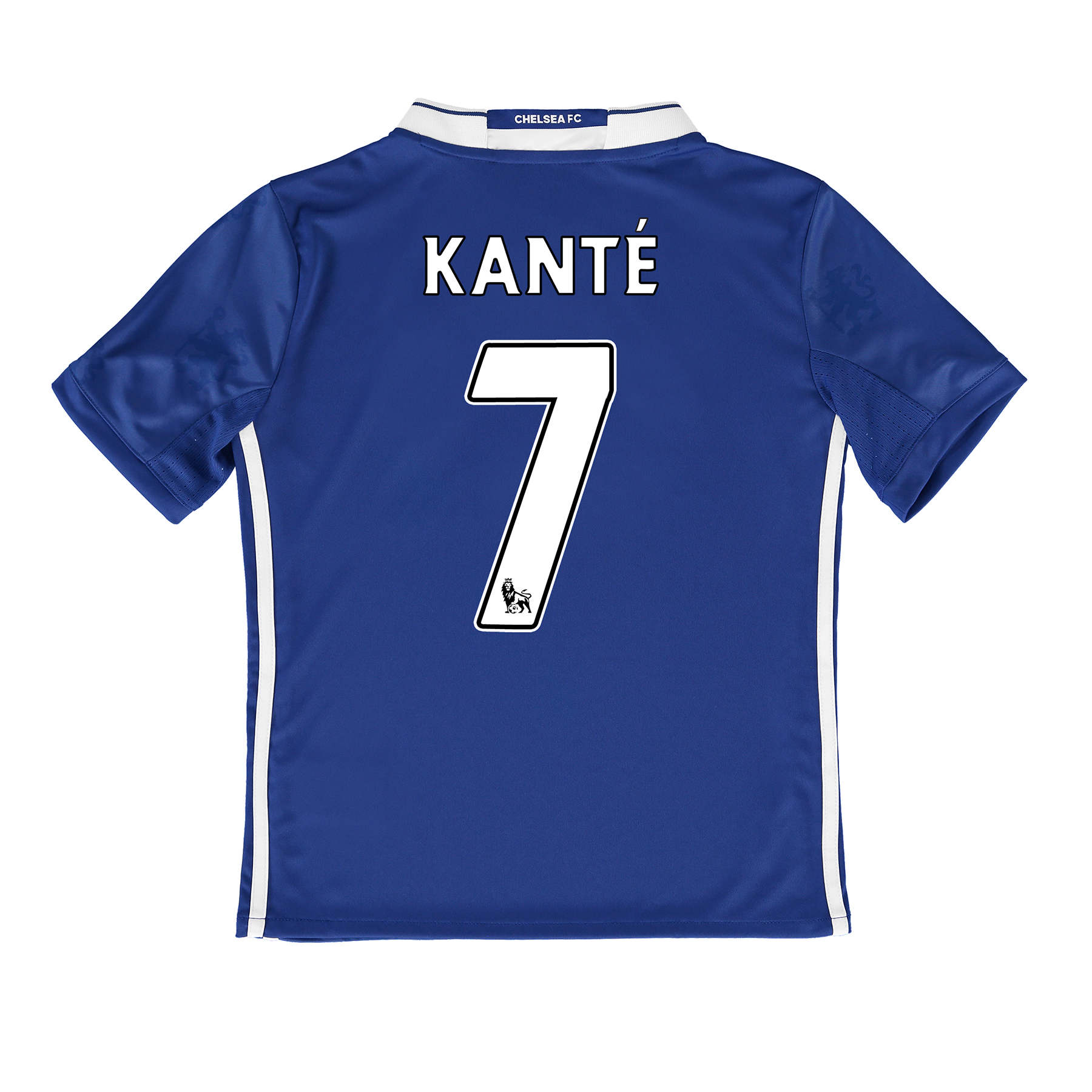 Chelsea Home Shirt 2016-17 - Kids   Inspired by tradition and shaped by legacy, the official Chelsea Home Shirt 2016-17 - Kids restores a classic Stamford Bridge image, with its vintage v-collar drawing allusion to Chelsea sides of yesteryear.   With the club crest's central lion motif forming the basis of a unique, all-over pattern print, the 2016-17 Chelsea kids' home jersey's Three Stripe branding features in a contemporary side placement, completing a winning mix of old and new for the Blues' renewed title challenge.   Benefits:   Climacool® heat and moisture management Printed fabric Club crest: woven badge Engineered Chelsea FC sign off on collar 100% recycled polyester with Kanté 7 printing