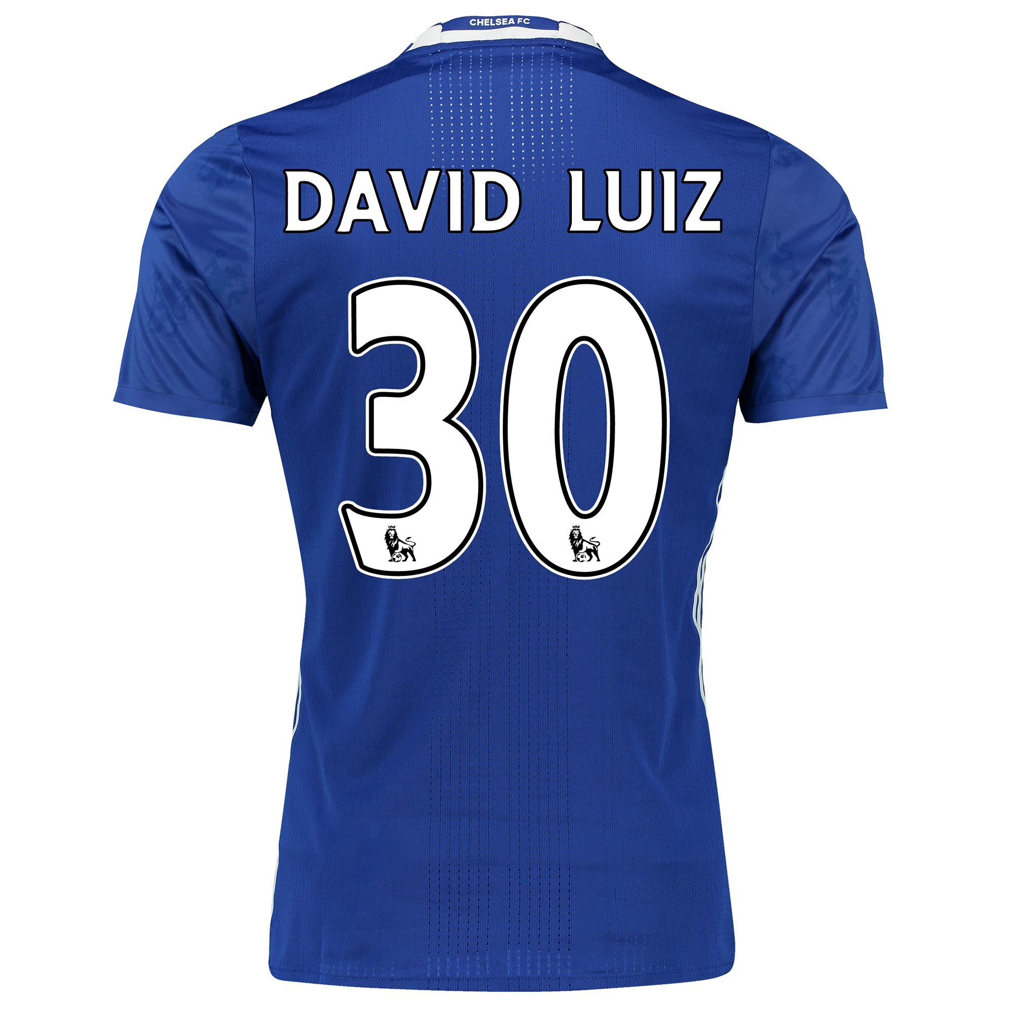 Chelsea Home adizero Shirt 2016-17   Experience 100% authenticity with the official Chelsea Home adizero Shirt 2016-17.   This authentic Chelsea 2016-17 adizero home shirt is identical to the cutting edge, athletic fit jersey worn by the Blues' first team in their Premier League fixtures at Stamford Bridge, with 100% polyester interlock composition providing enhanced ease of movement in comfort.   Made with advanced adizero fabric designed for top-level athletes, this high-end game jersey benefits from the latest in adidas matchwear technology, with its unrivalled texture and tactility providing the same accurate touch and feel enjoyed by players on English football's grandest stage.   With premium features including an engineered back panel for superior ventilation, heat transferred lightweight chest elements to eliminate unnecessary weight and a lightweight replication of the famous Chelsea Football Club crest, every fibre of this special jersey is designed with professional performance in mind, with the end experience unparalleled for pros and supporters alike.   Inspired by tradition and shaped by legacy, the latest interpretation of the Chelsea colours restores a classic Stamford Bridge image, with its vintage v-collar drawing allusion to Lions sides of yesteryear.   With the Chelsea crest's central lion motif forming the basis of a unique, all-over pattern print, the jersey's adidas Three Stripe branding is meanwhile featured in a contemporary side placement, completing a winning mix of old and new ready for the Blues' renewed title challenge.   Benefits:   Authentic athletic fit jersey Advanced adizero technology Highly-breathable fabric Breathable mesh linings Mesh ventilation inserts Heat transferred chest Engineered back panel Lightweight club crest V-collar and short sleeves All-over lion print design 3 Stripe tape elements 100% polyester interlock with David Luiz 30 printing