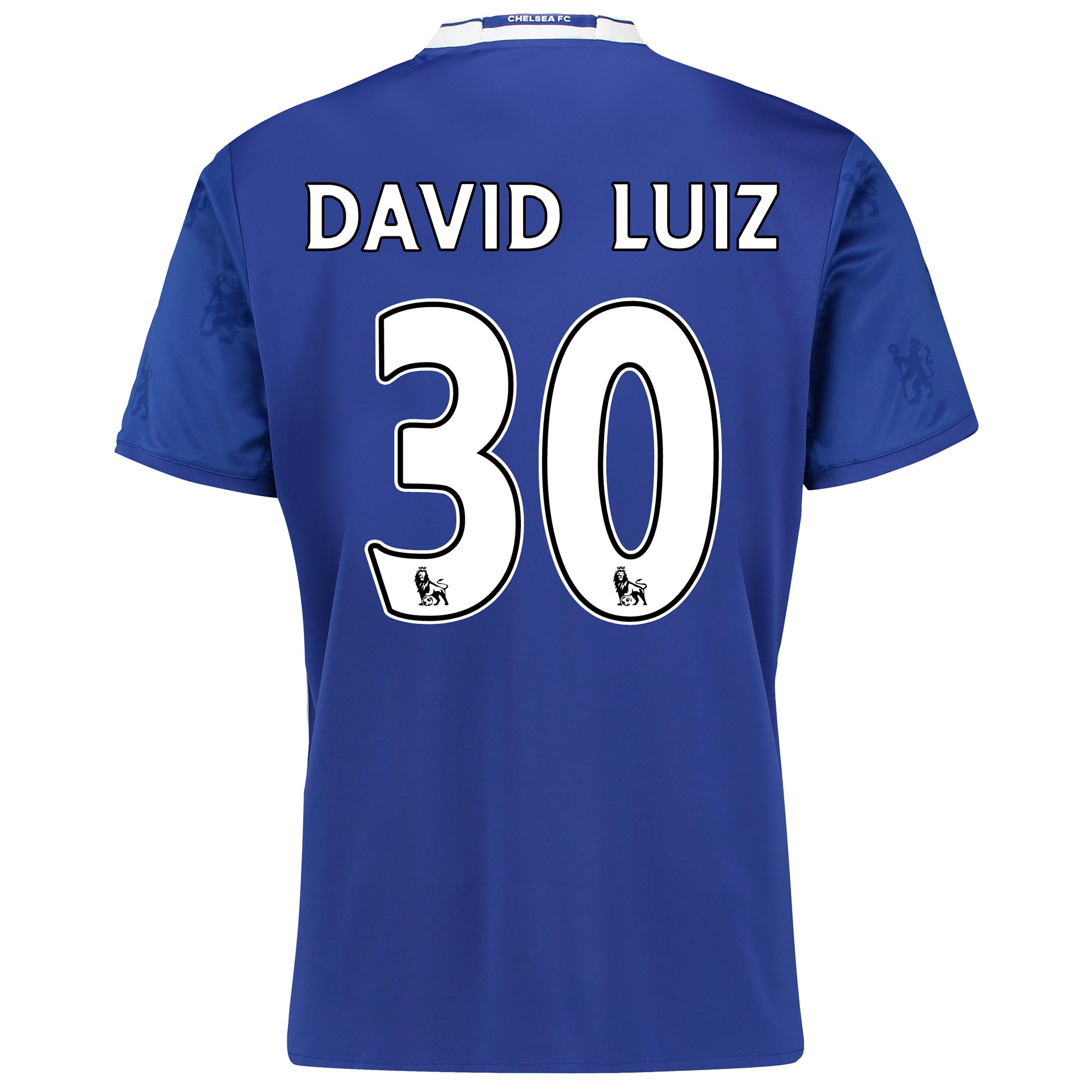 Chelsea Home Shirt 2016-17   Inspired by tradition and shaped by legacy, the official Chelsea Home Shirt 2016-17 restores a classic Stamford Bridge image, with its vintage v-collar drawing allusion to Chelsea sides of yesteryear.   With the club crest's central lion motif forming the basis of a unique, all-over pattern print, the 2016-17 Chelsea home jersey's Three Stripe branding features in a contemporary side placement, completing a winning mix of old and new for the Blues' renewed title challenge.   Benefits:   Climacool® heat and moisture management Printed fabric Club crest: woven badge Engineered Chelsea FC sign off on collar 100% recycled polyester with David Luiz 30 printing