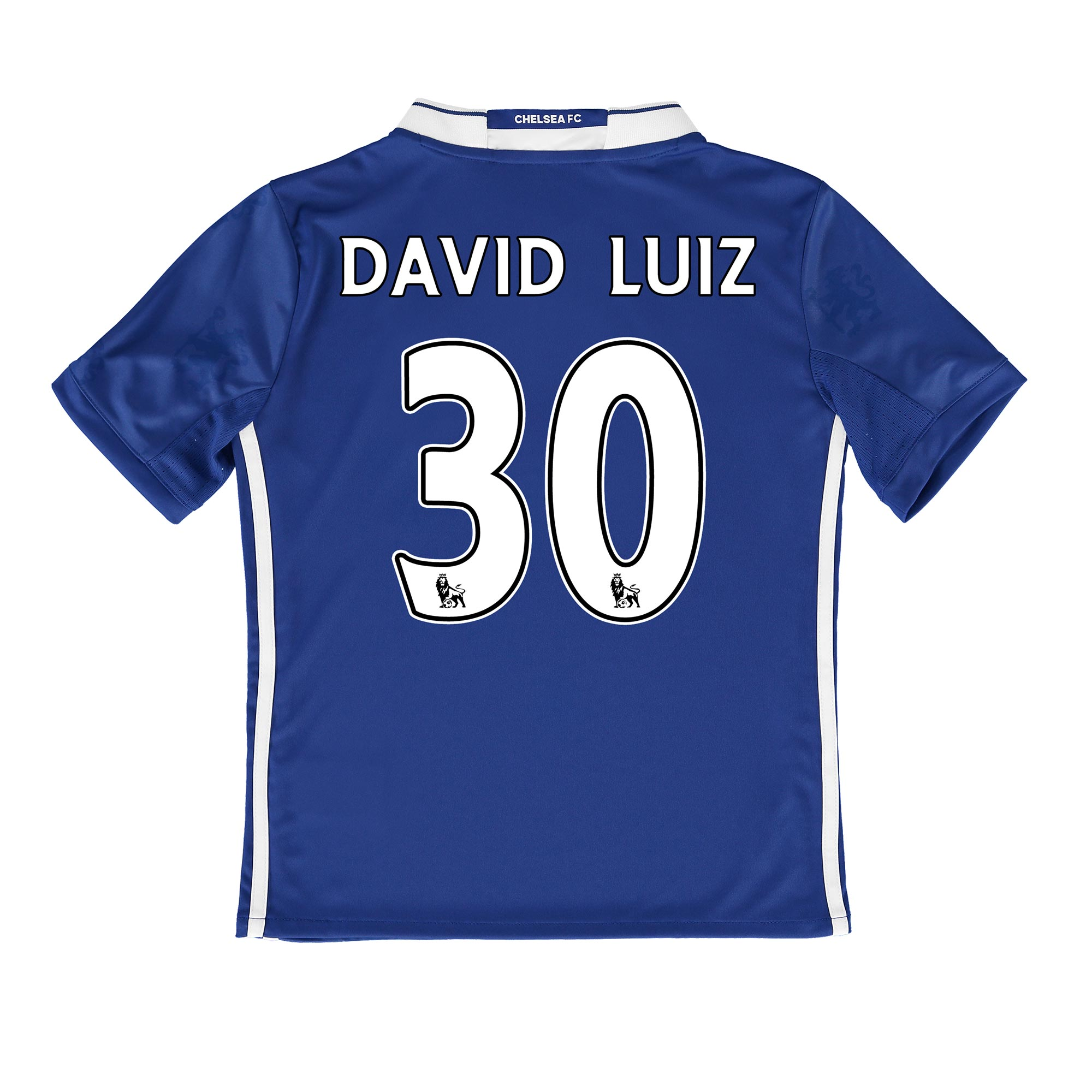Chelsea Home Shirt 2016-17 - Kids   Inspired by tradition and shaped by legacy, the official Chelsea Home Shirt 2016-17 - Kids restores a classic Stamford Bridge image, with its vintage v-collar drawing allusion to Chelsea sides of yesteryear.   With the club crest's central lion motif forming the basis of a unique, all-over pattern print, the 2016-17 Chelsea kids' home jersey's Three Stripe branding features in a contemporary side placement, completing a winning mix of old and new for the Blues' renewed title challenge.   Benefits:   Climacool® heat and moisture management Printed fabric Club crest: woven badge Engineered Chelsea FC sign off on collar 100% recycled polyester with David Luiz 30 printing