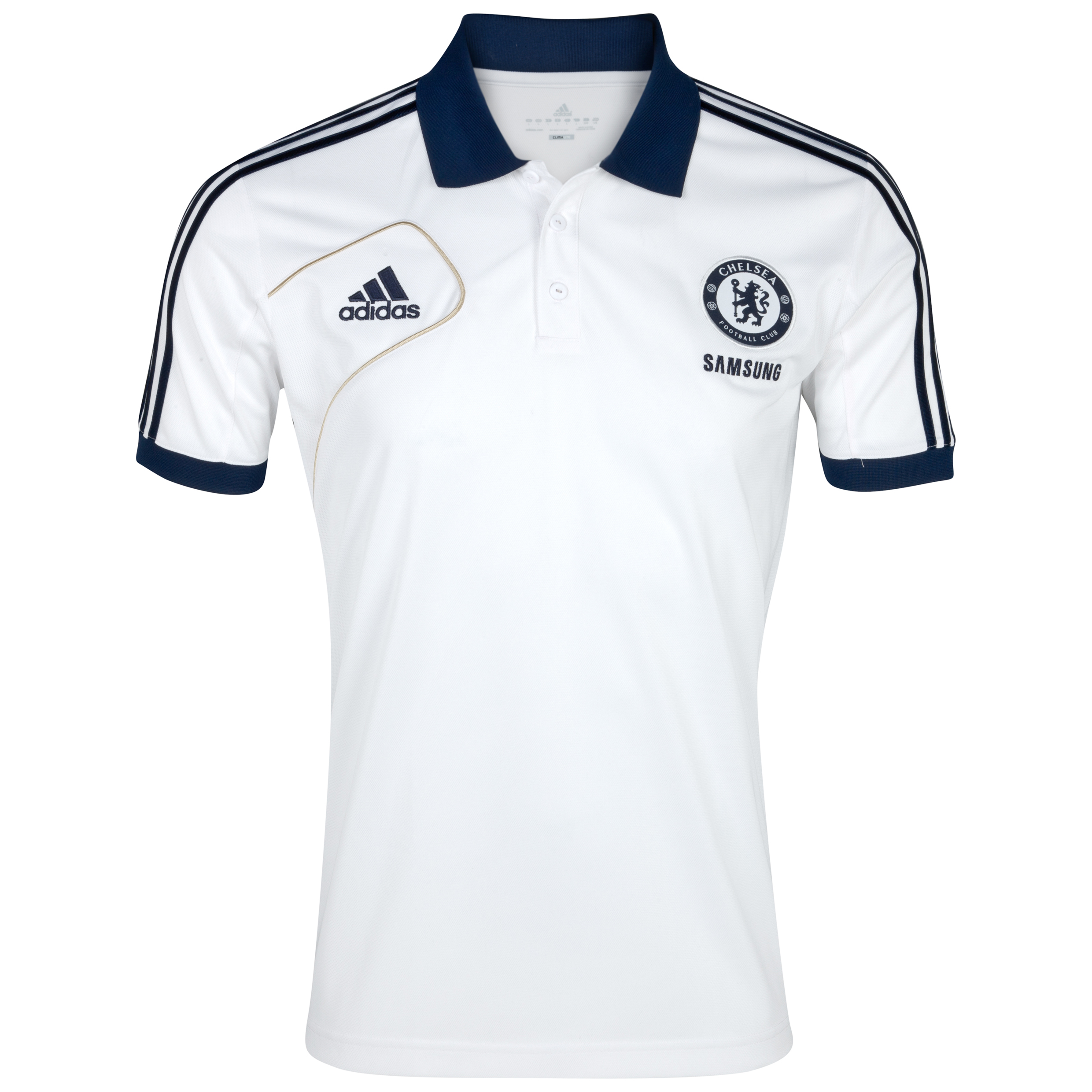 adidas Chelsea Training Polo - White/Collegiate Navy/Light Football Gold