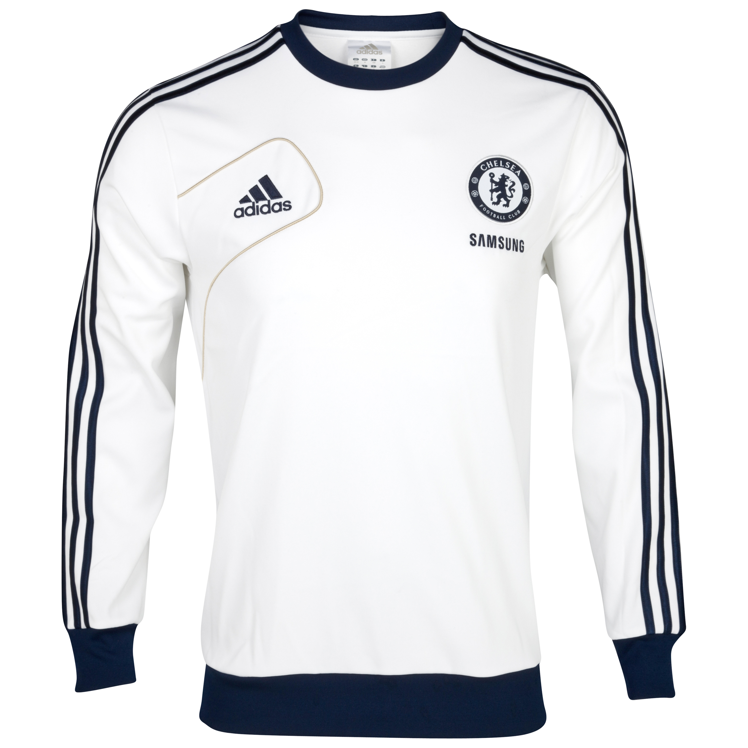 Chelsea Training Sweat Top - White/Collegiate Navy/Light Football Gold