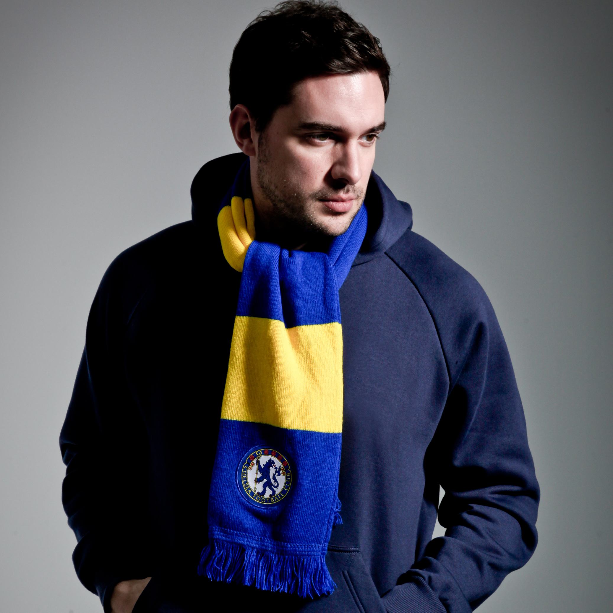 Chelsea Retro Bar Scarf - Reflex Blue/Yellow - Mens