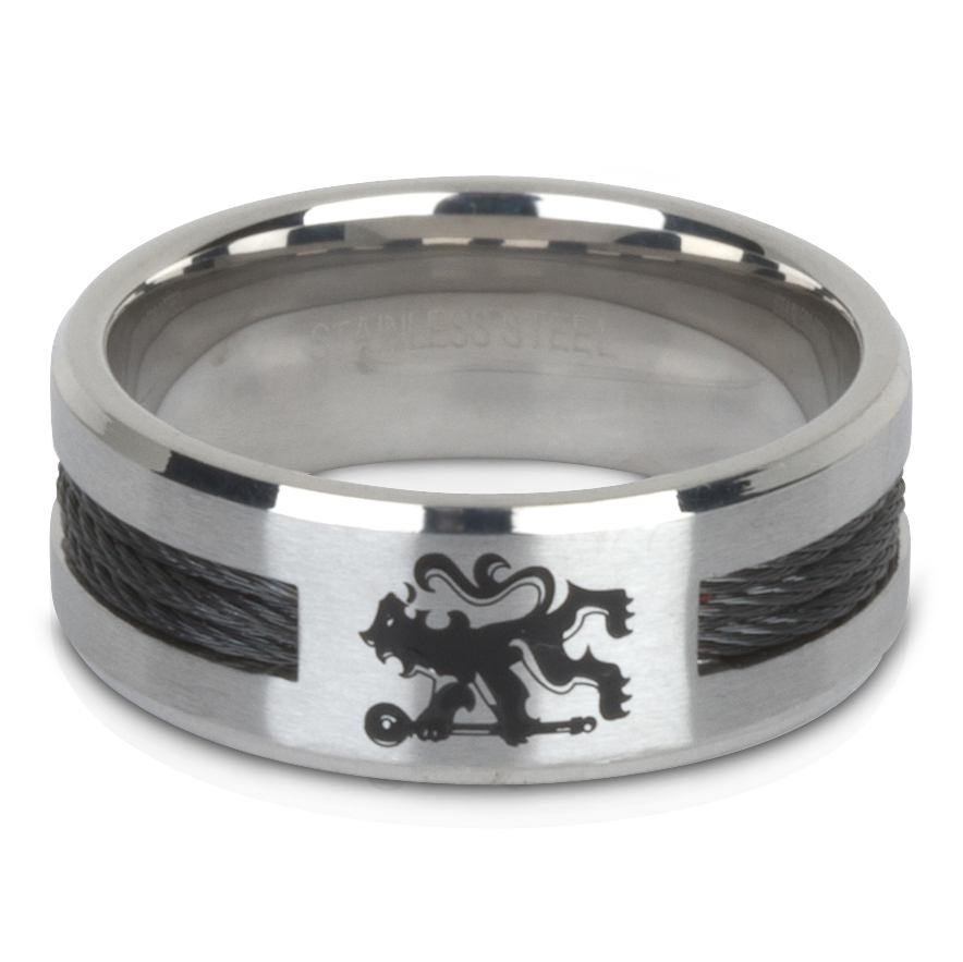 Chelsea Band Ring with Black Inlay - Stainless Steel