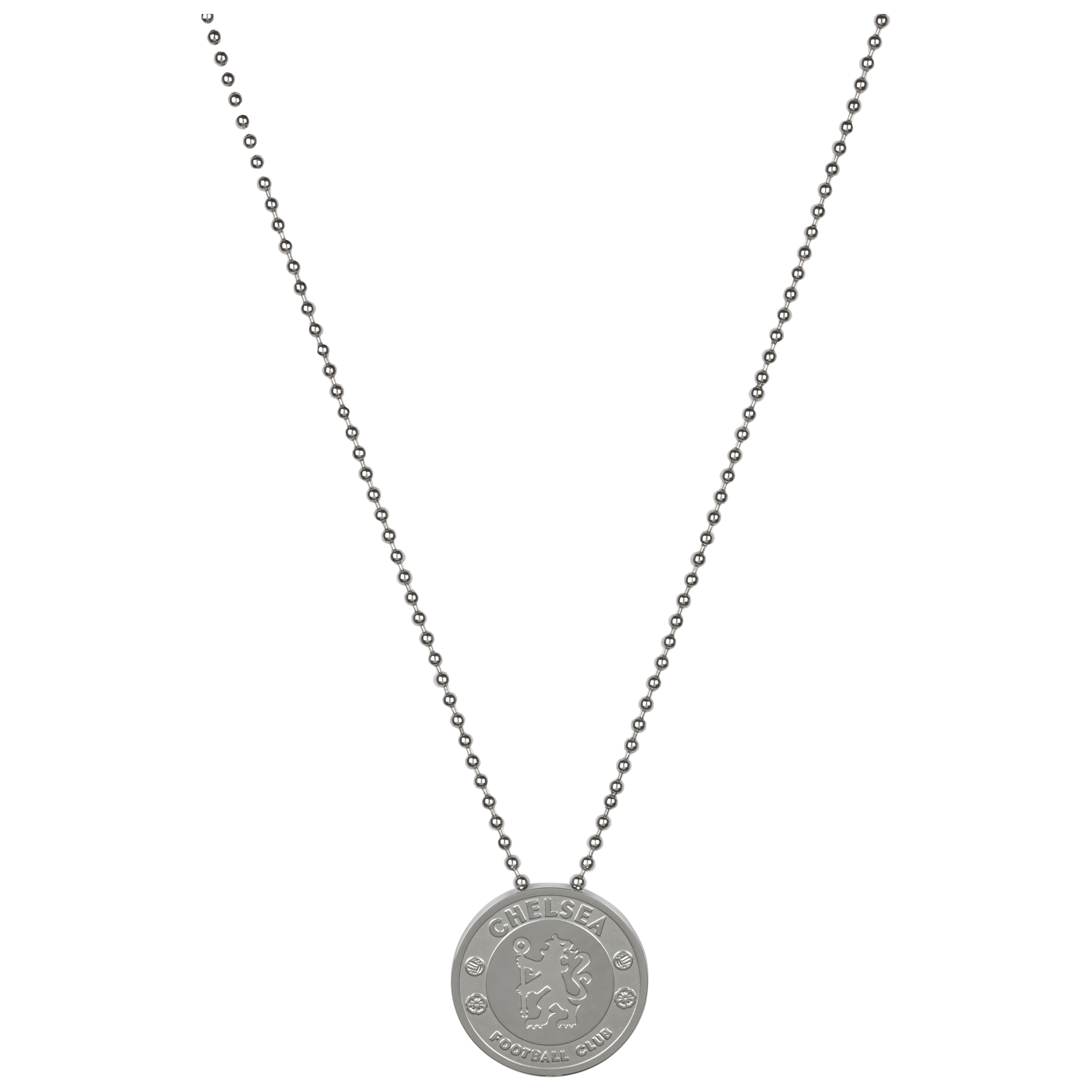Chelsea Crest Round Pendant and Chain - Stainless Steel