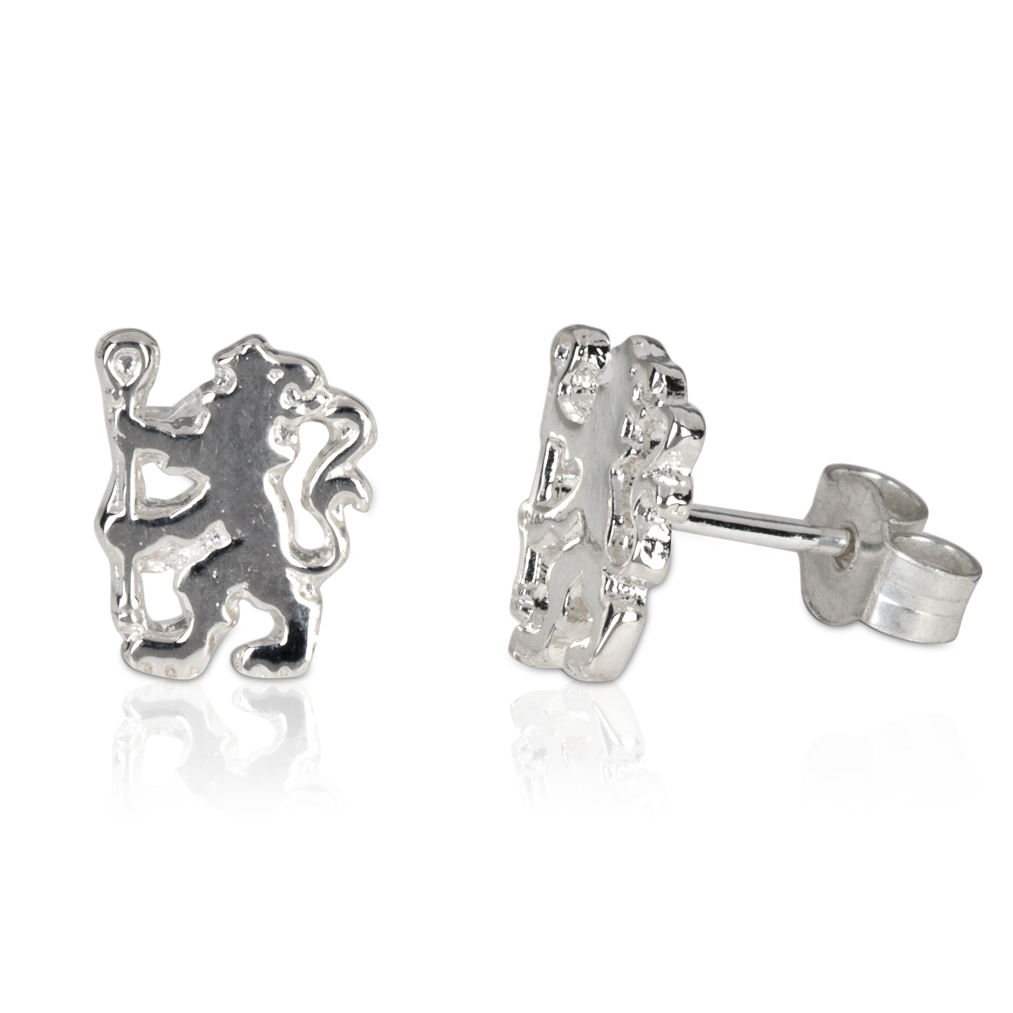 Chelsea Lion Stud Earrings Pair - Sterling Silver